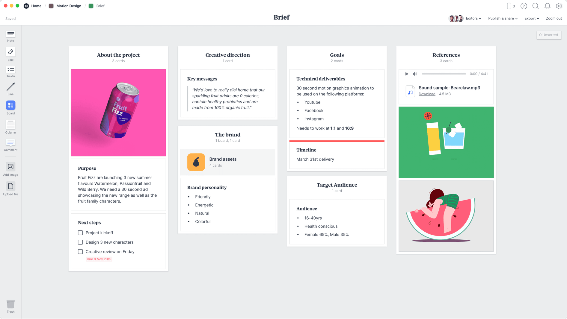 Motion Design Brief Template, within the Milanote app