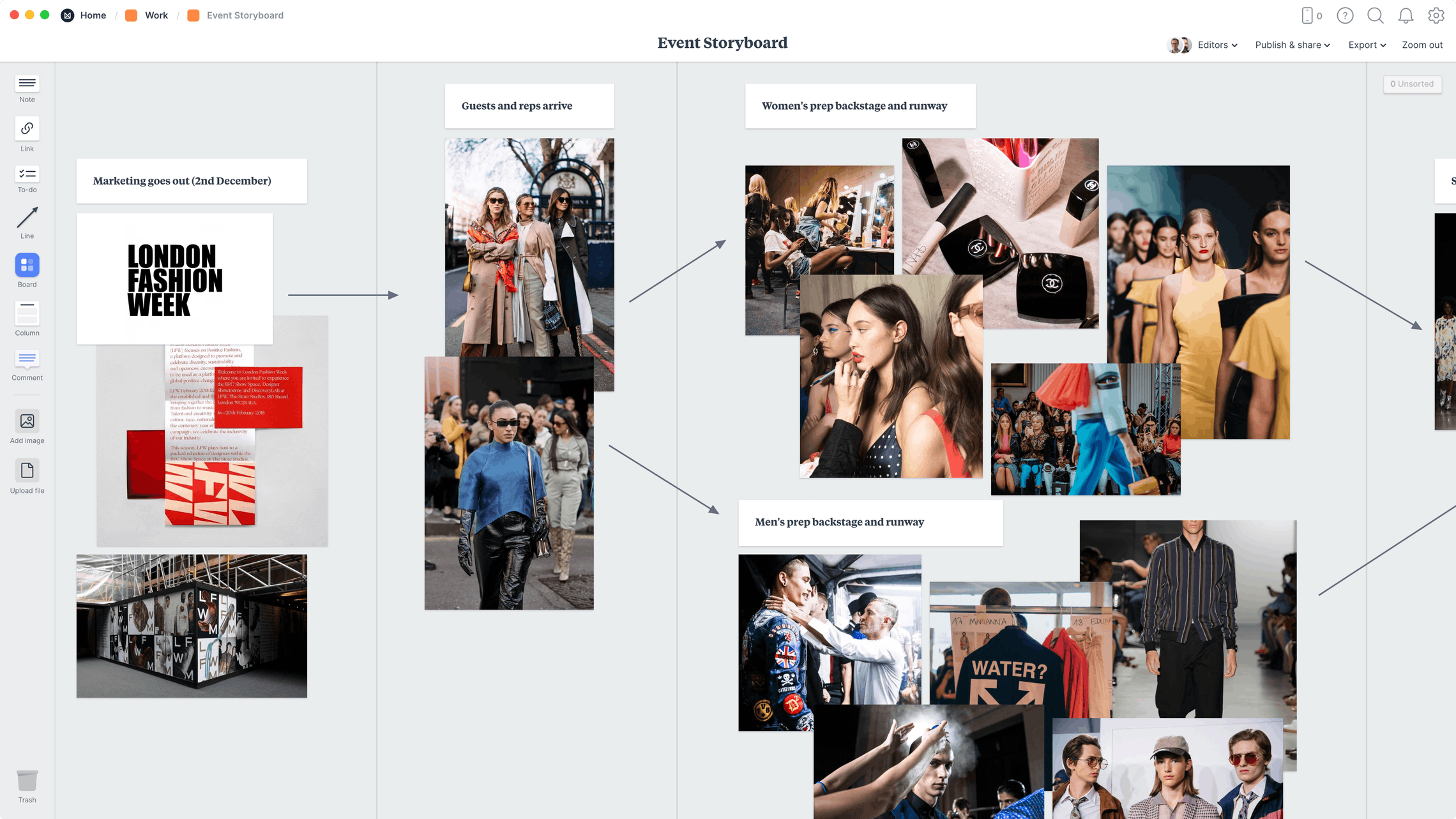 Event Storyboard Template, within the Milanote app