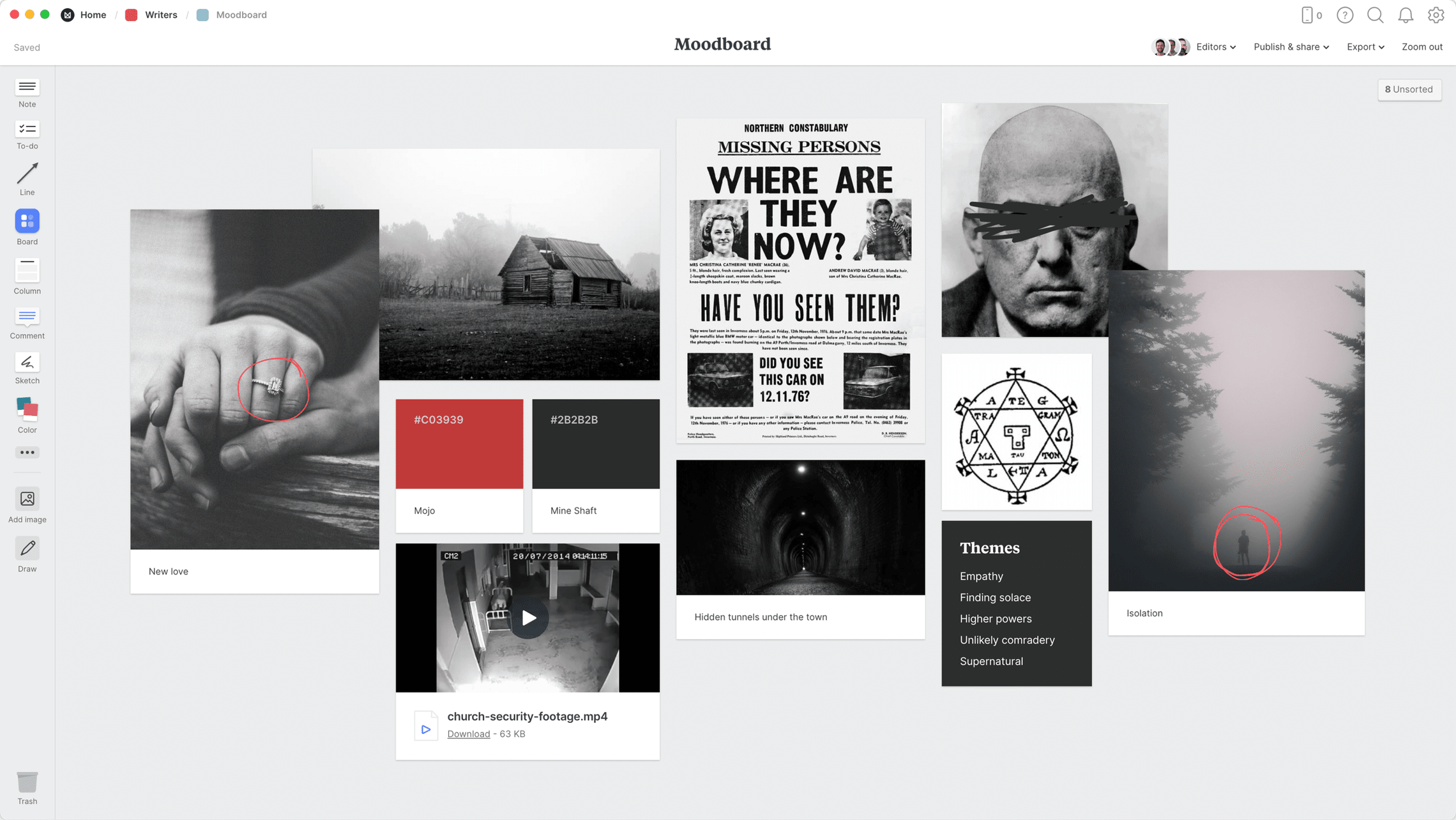 Novel Moodboard Template, within the Milanote app