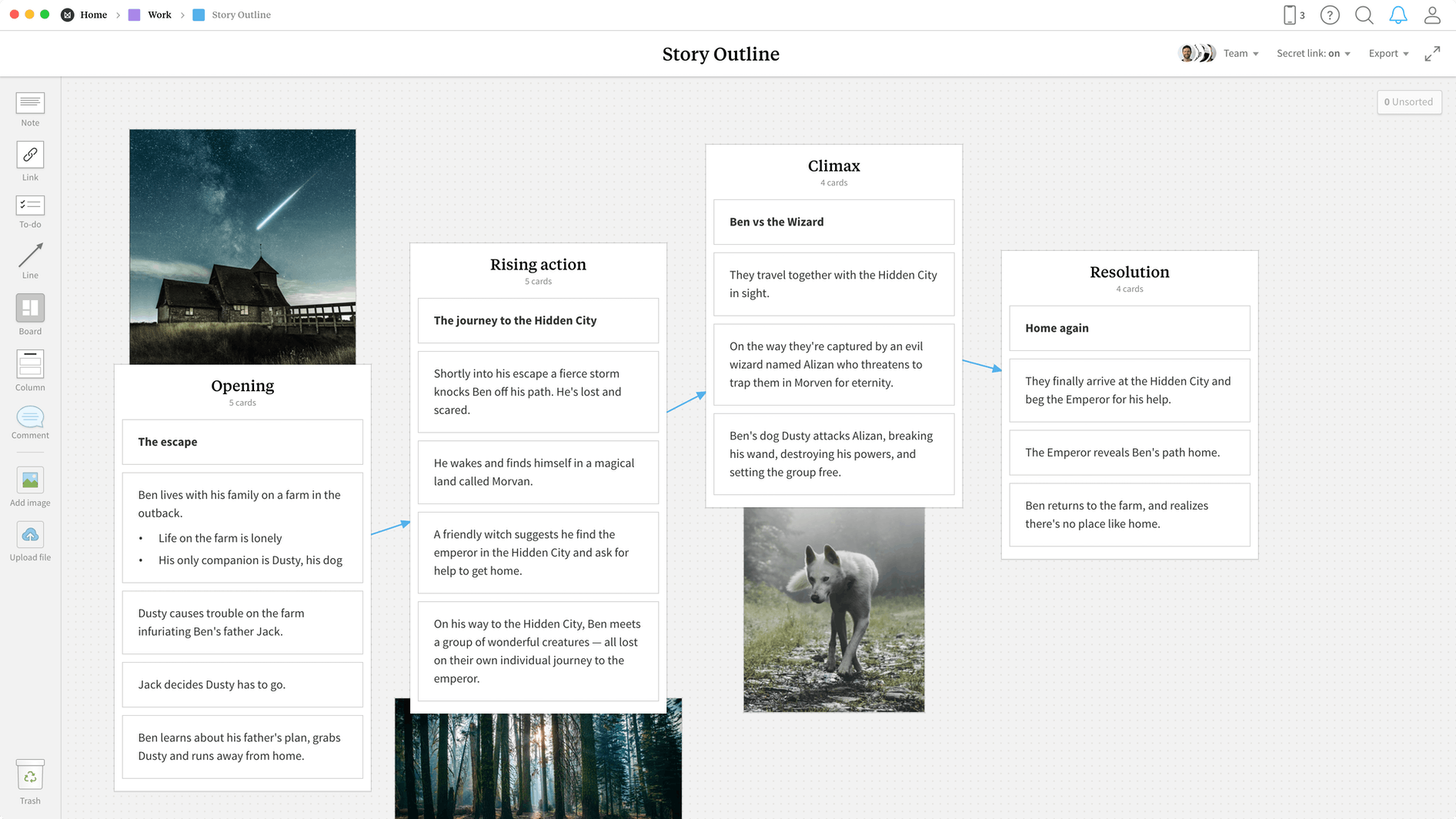 Story Outline Template, within the Milanote app