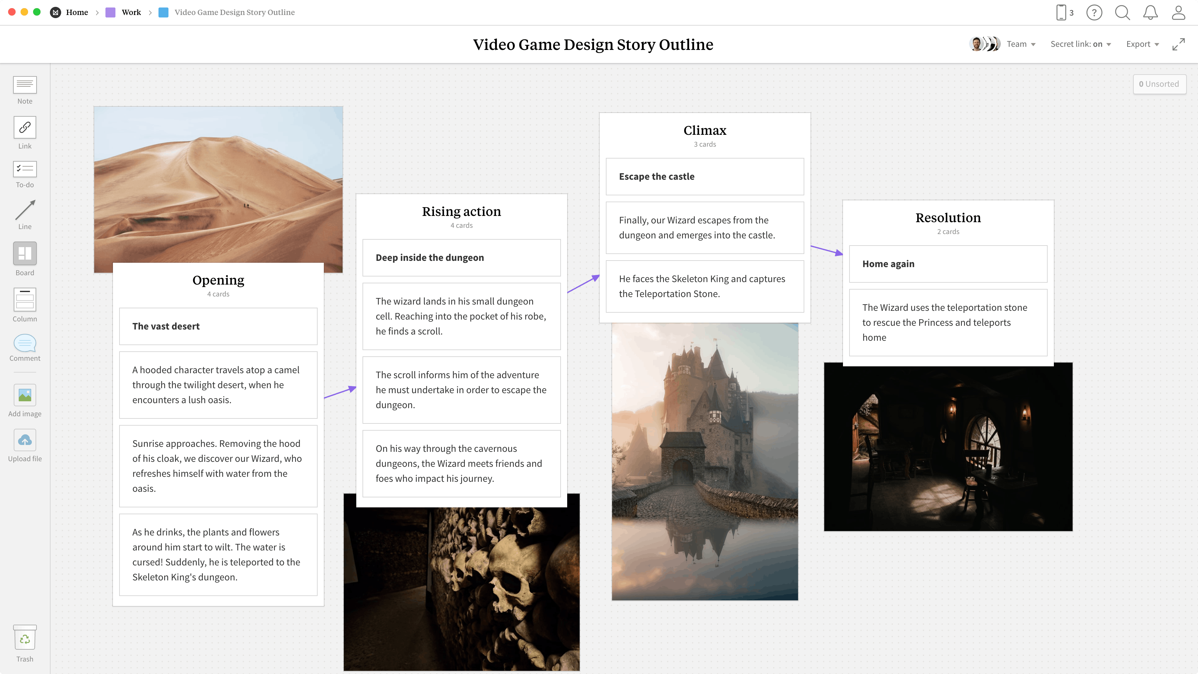 Completed Game Design Story Outline template in Milanote app