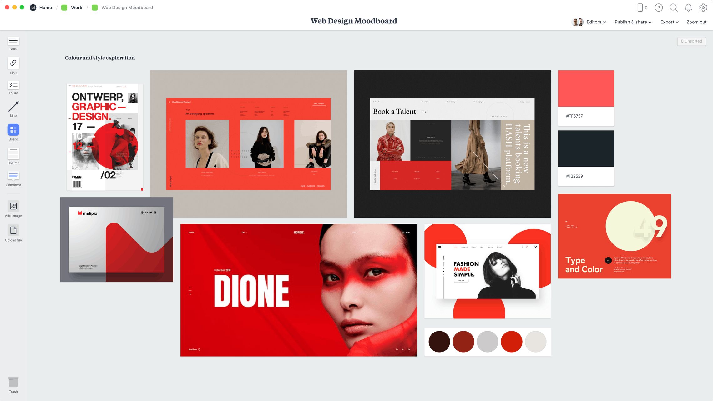Web Design Moodboard Template, within the Milanote app