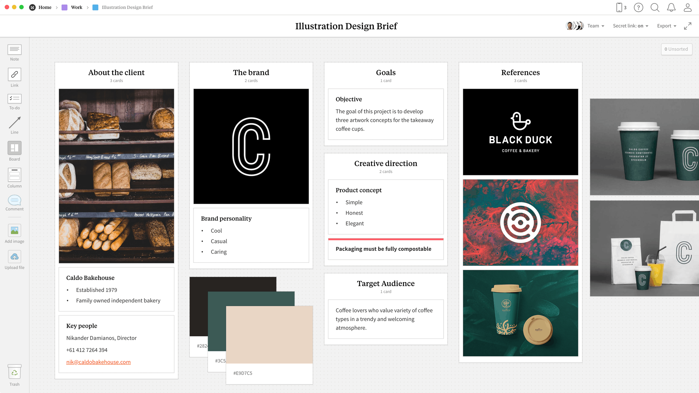 Illustration Design Brief  Template, within the Milanote app