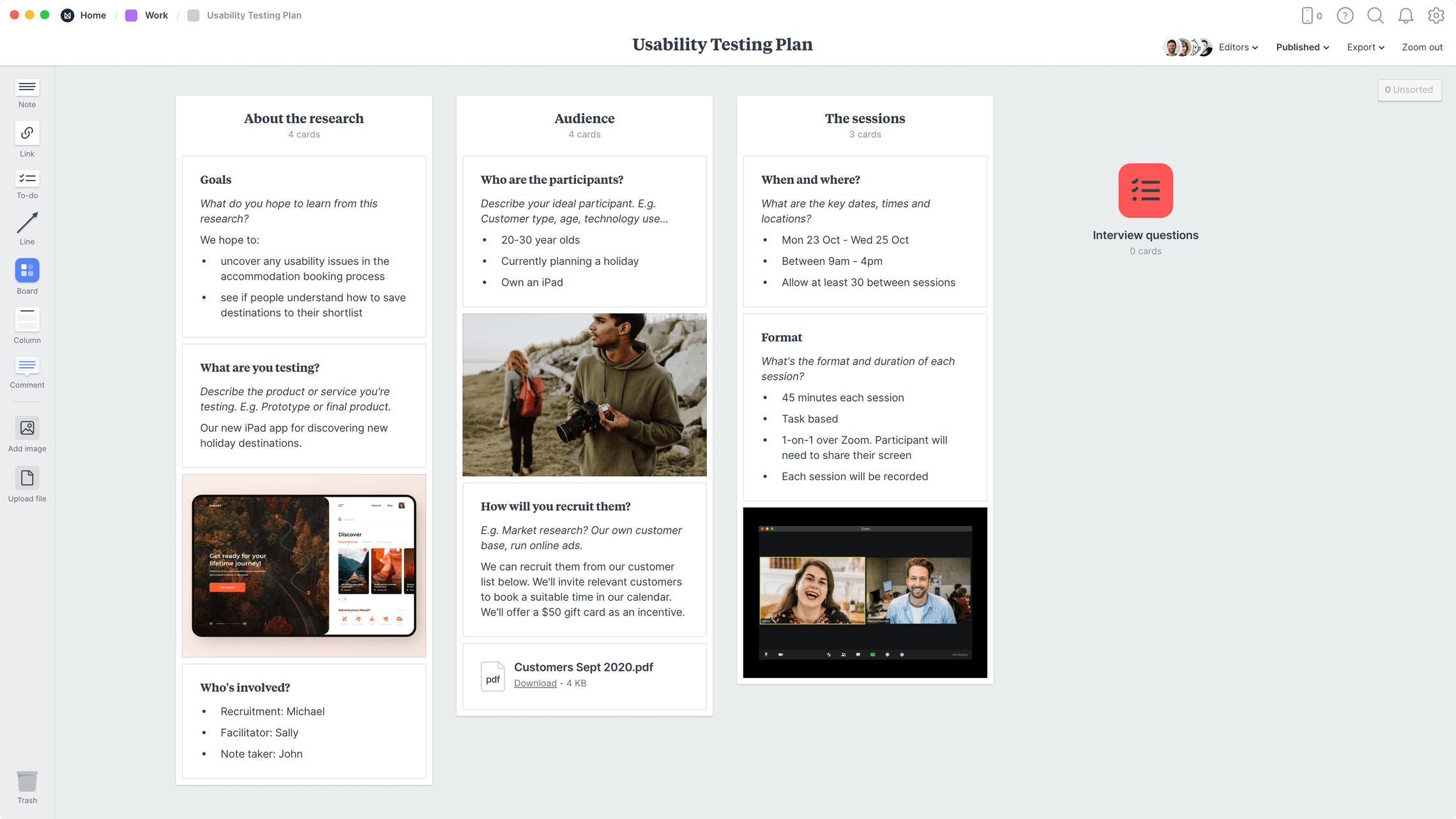 Usability Testing Plan Template, within the Milanote app