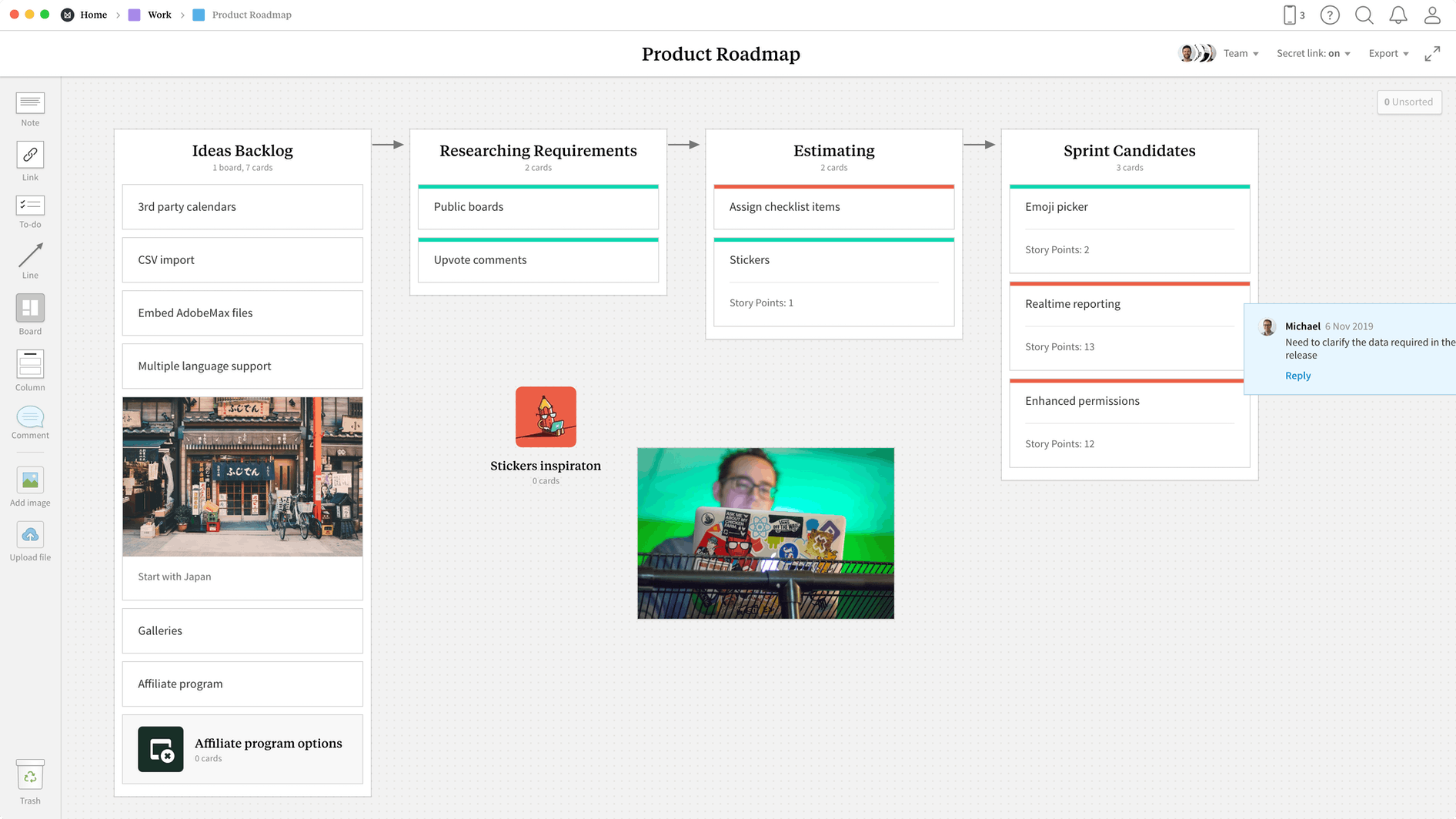 Product Roadmap Template, within the Milanote app