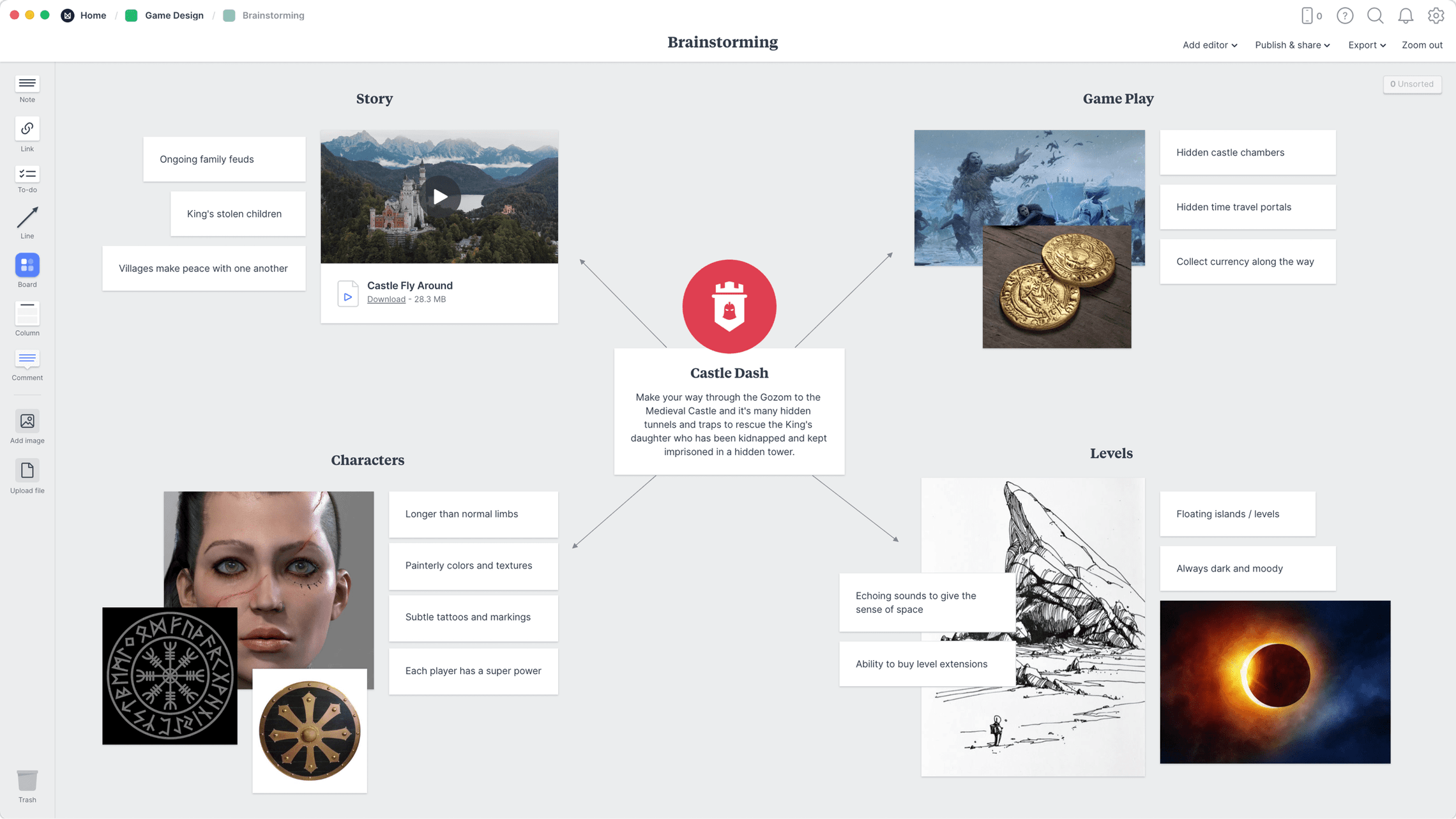 Game Design Brainstorming Template, within the Milanote app