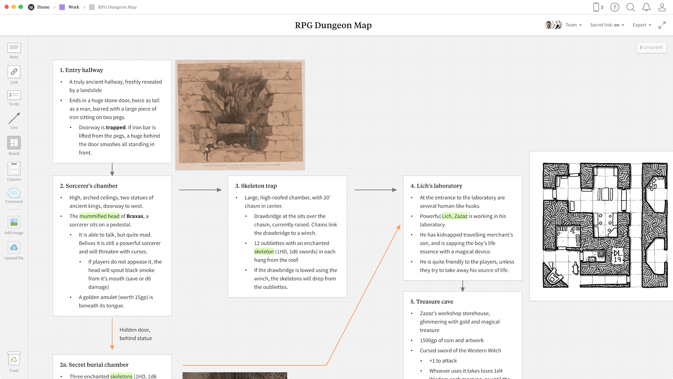 RPG Dungeon Map Template, within the Milanote app