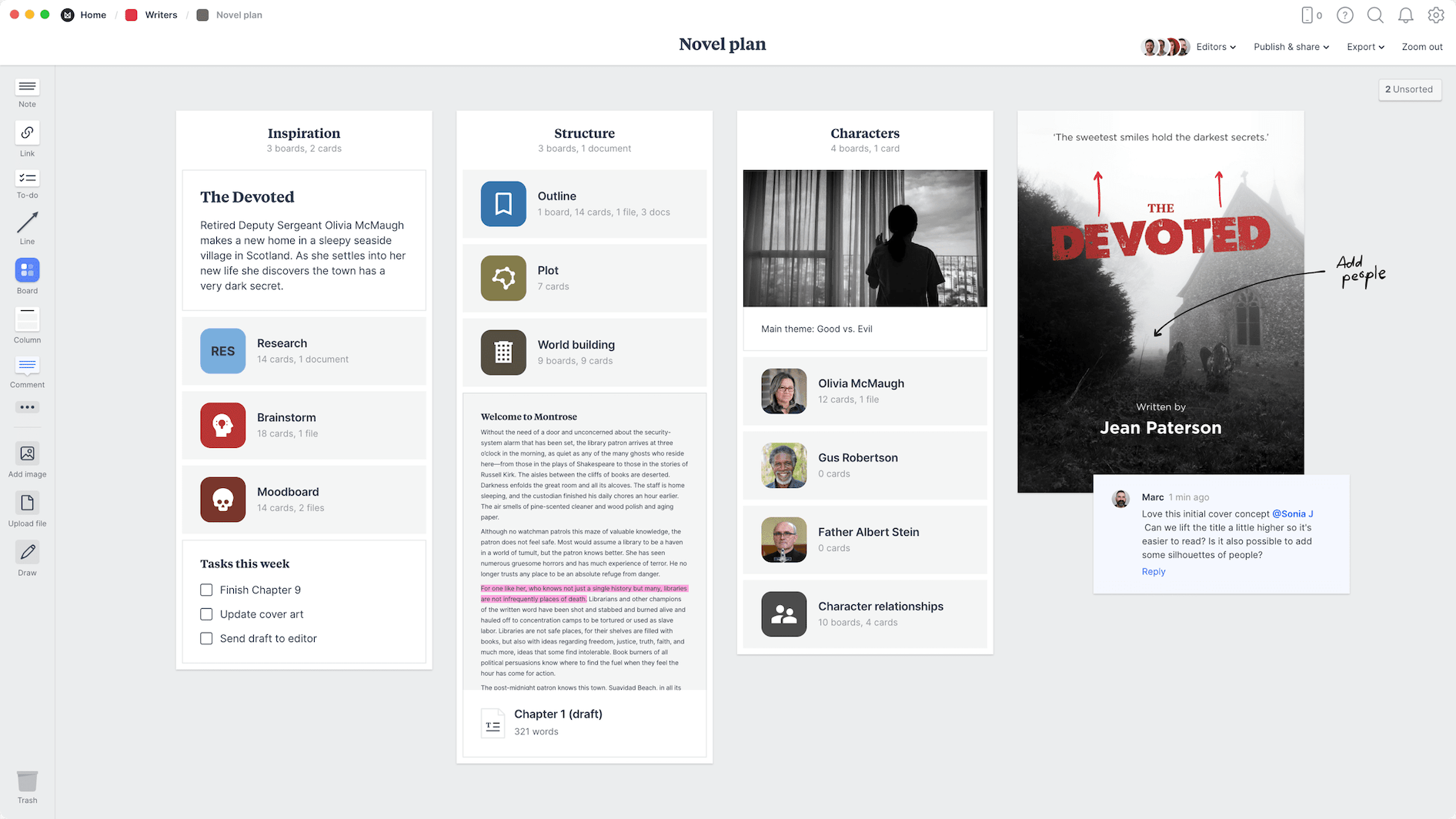 Novel Plan Template, within the Milanote app