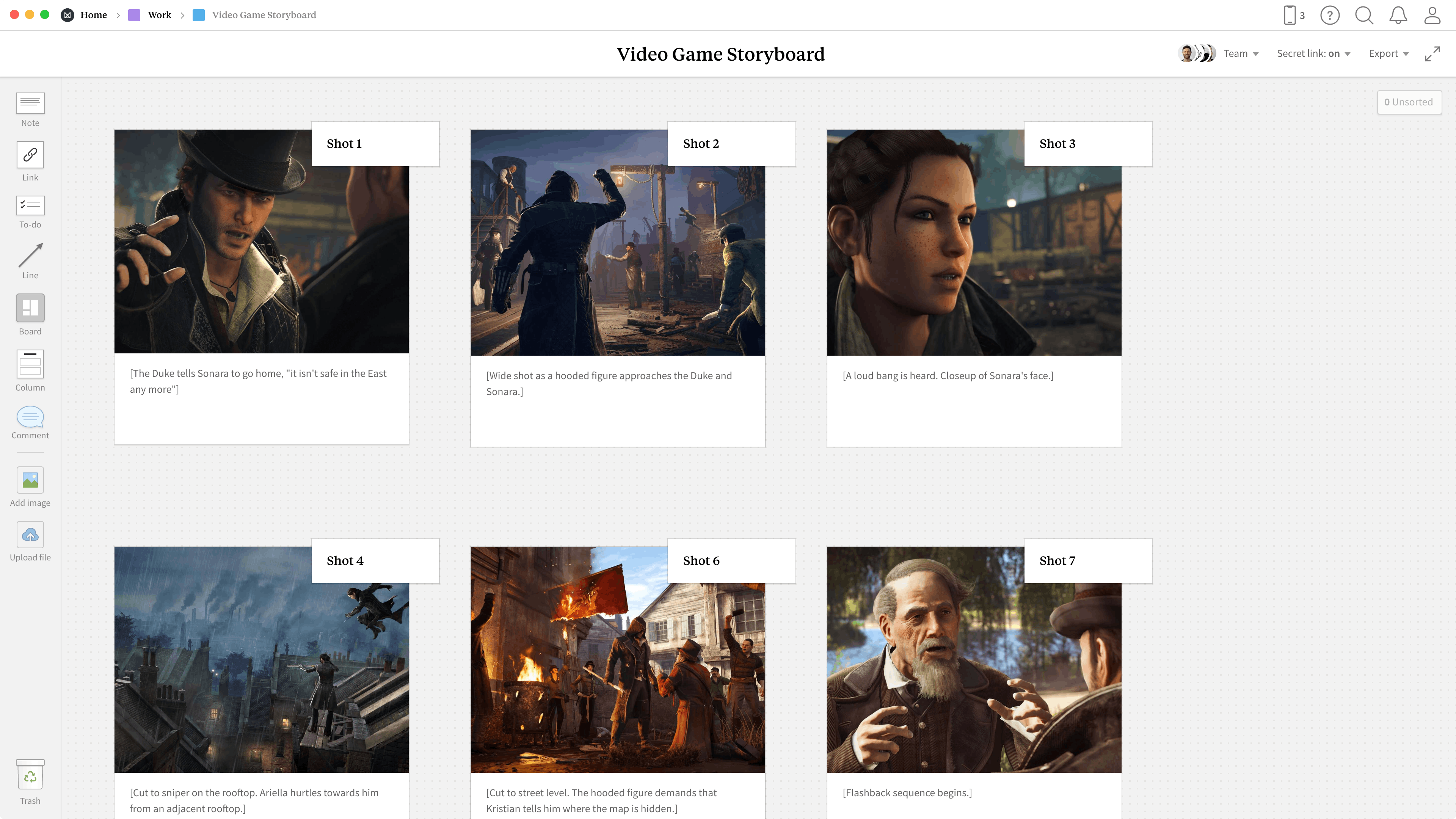 Completed Game Design Storyboard template in Milanote app