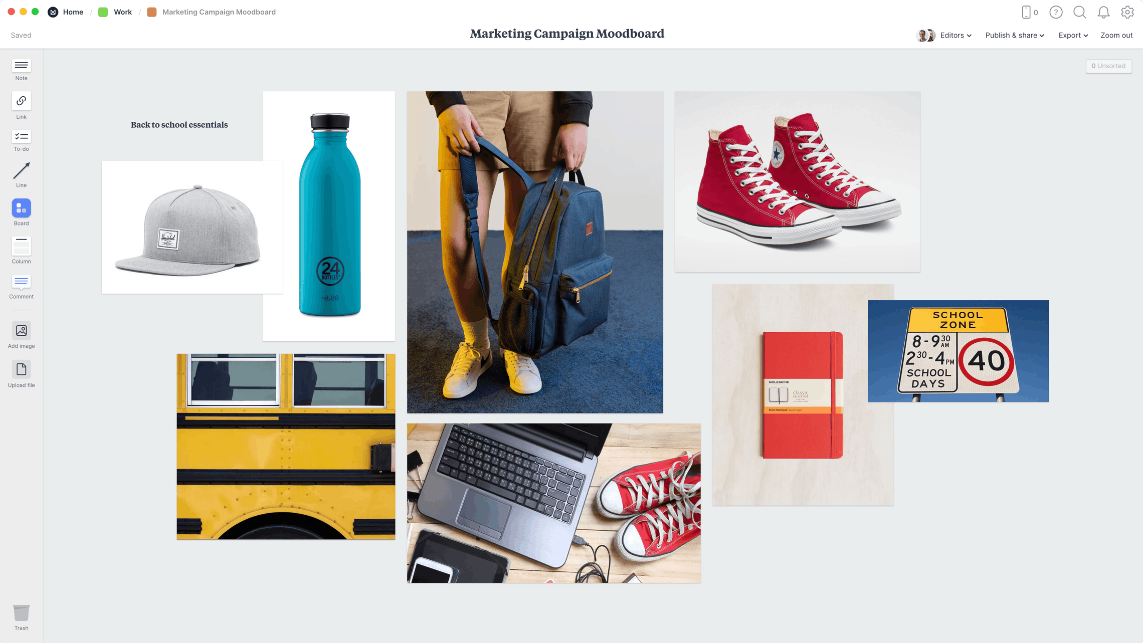 Marketing Campaign Moodboard Template, within the Milanote app