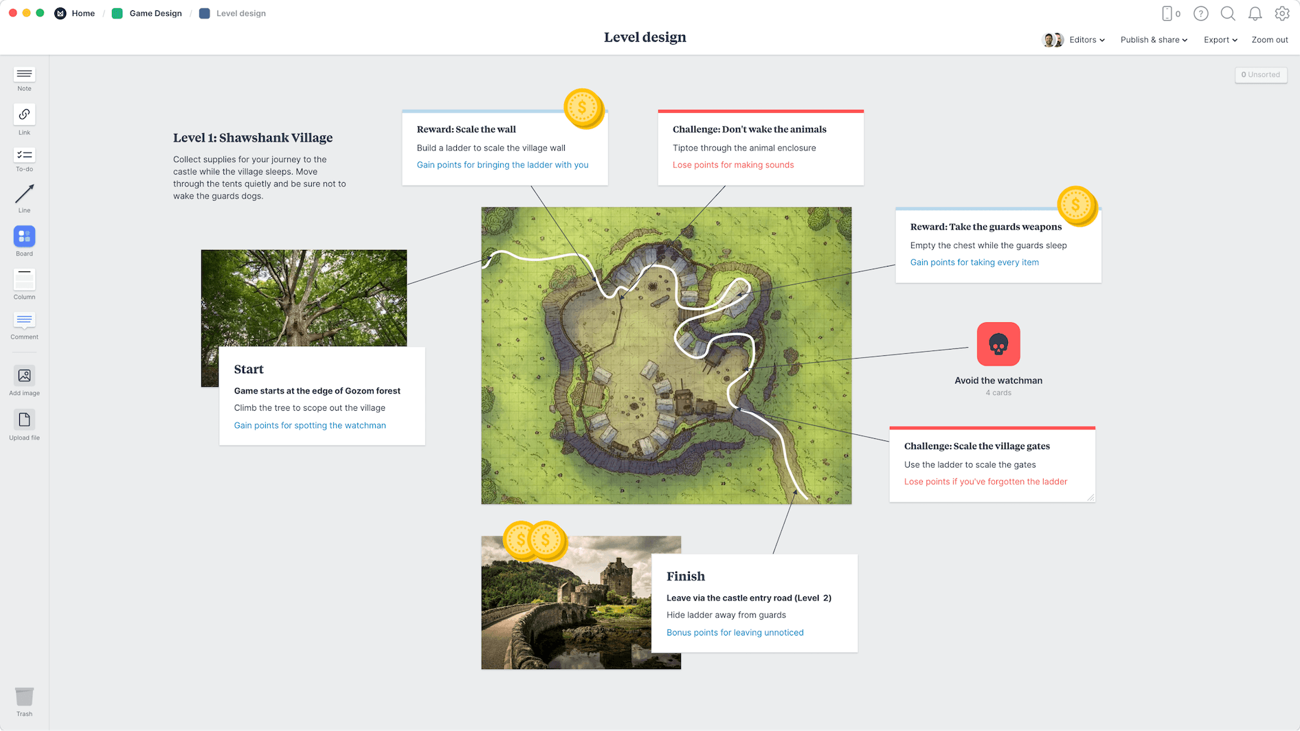 Game Level Design Template, within the Milanote app