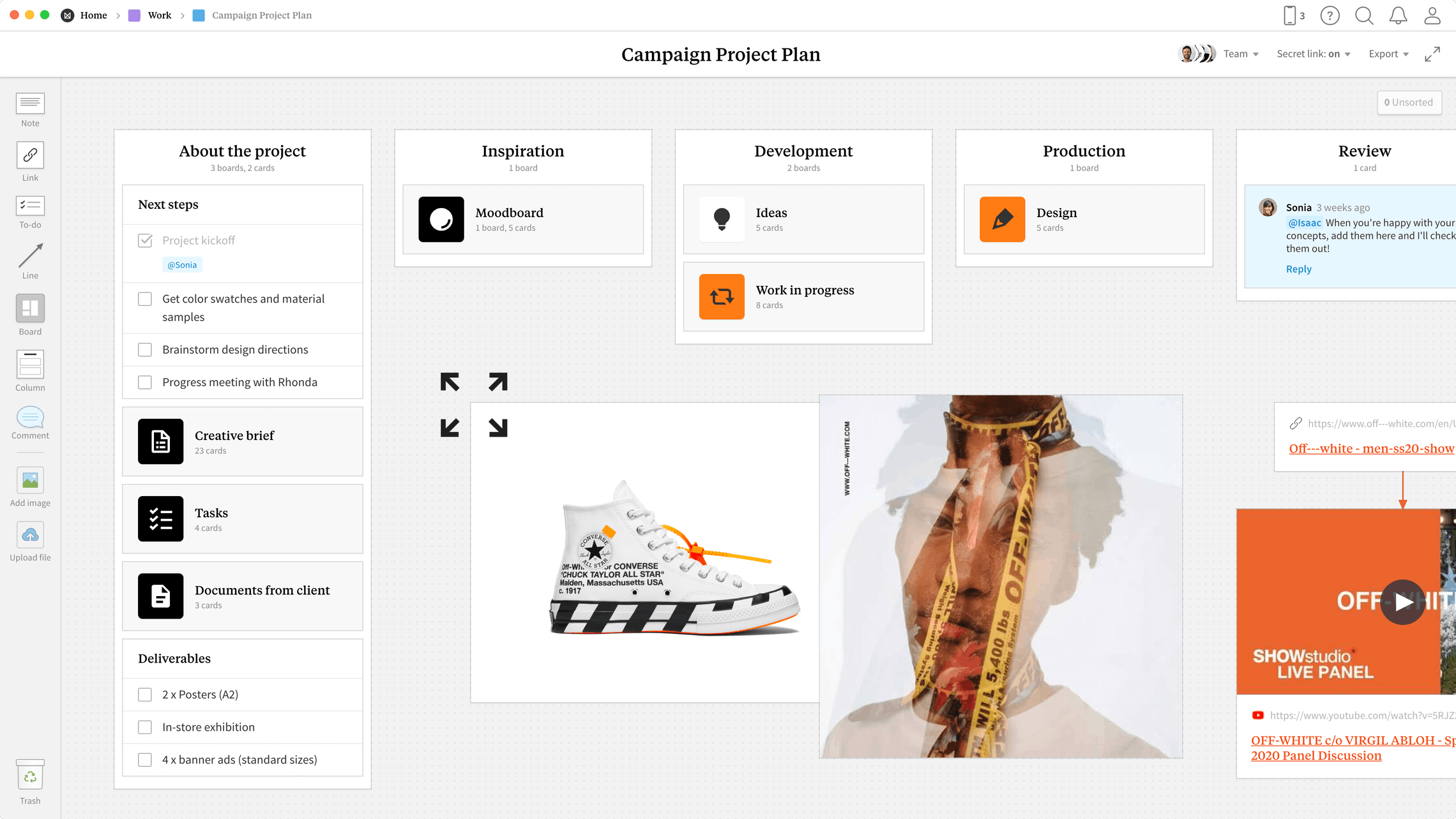 Campaign Project Plan Template, within the Milanote app