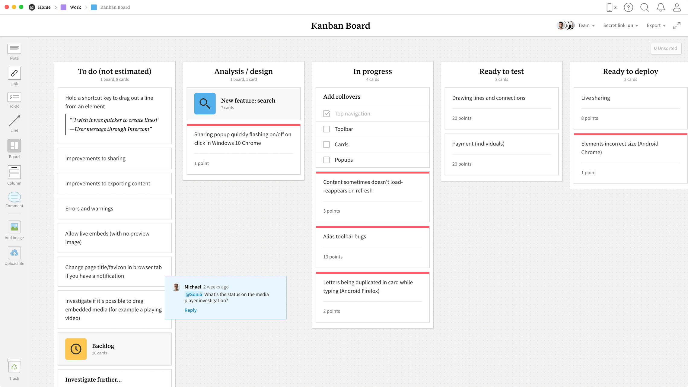 Kanban Board Template, within the Milanote app