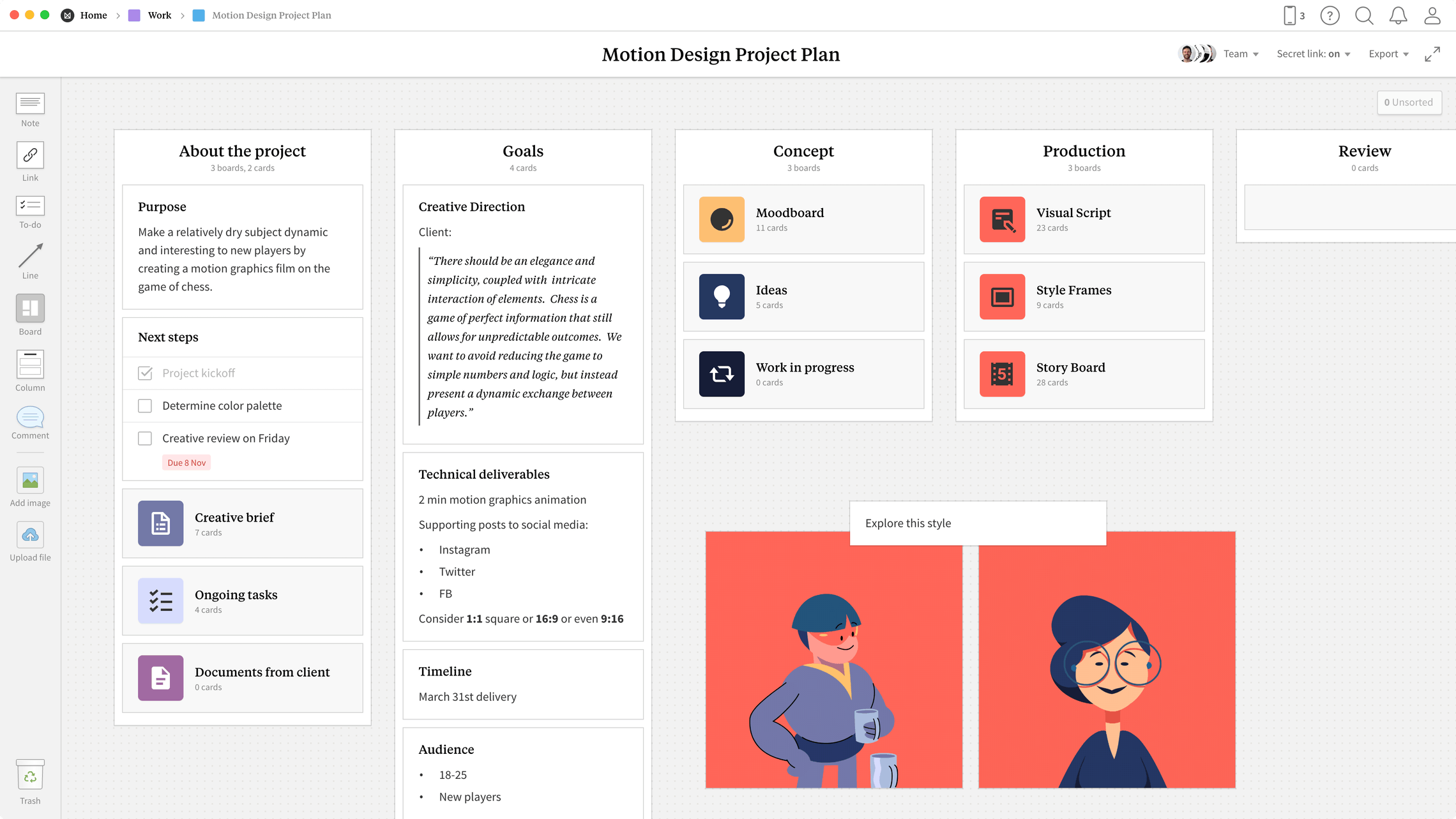 Motion Design Project Plan Template, within the Milanote app