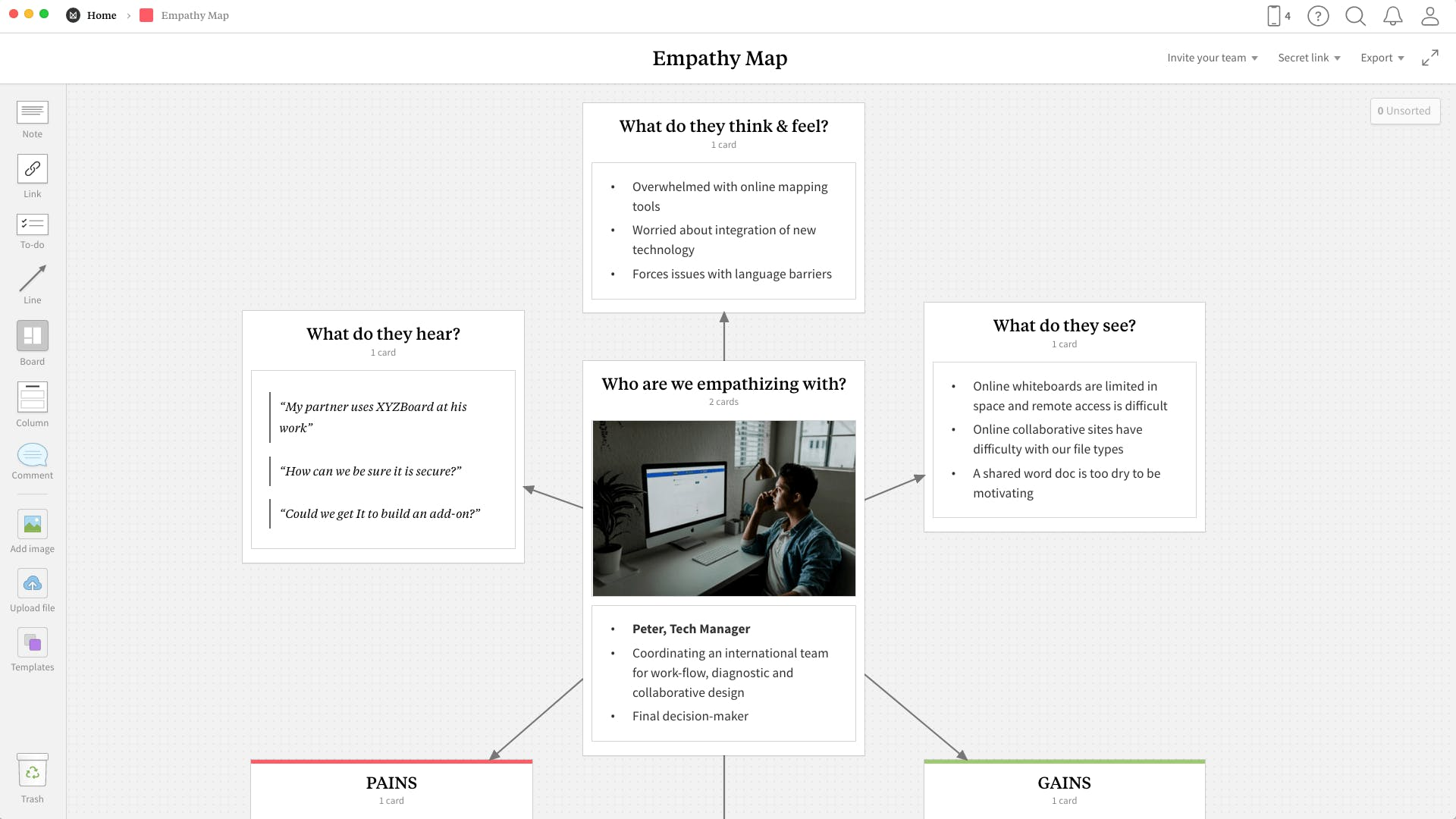 Completed Empathy Map template in Milanote app