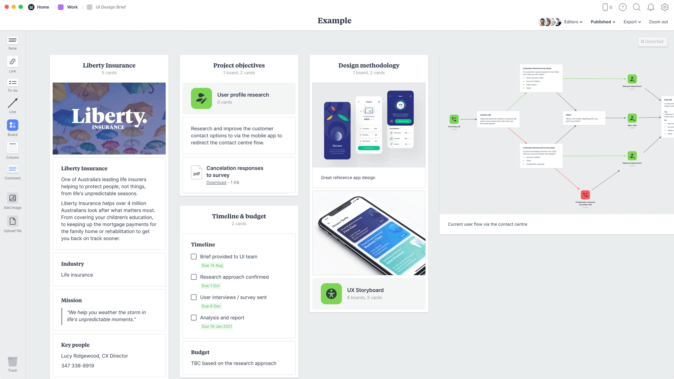 UI Design Brief Template, within the Milanote app