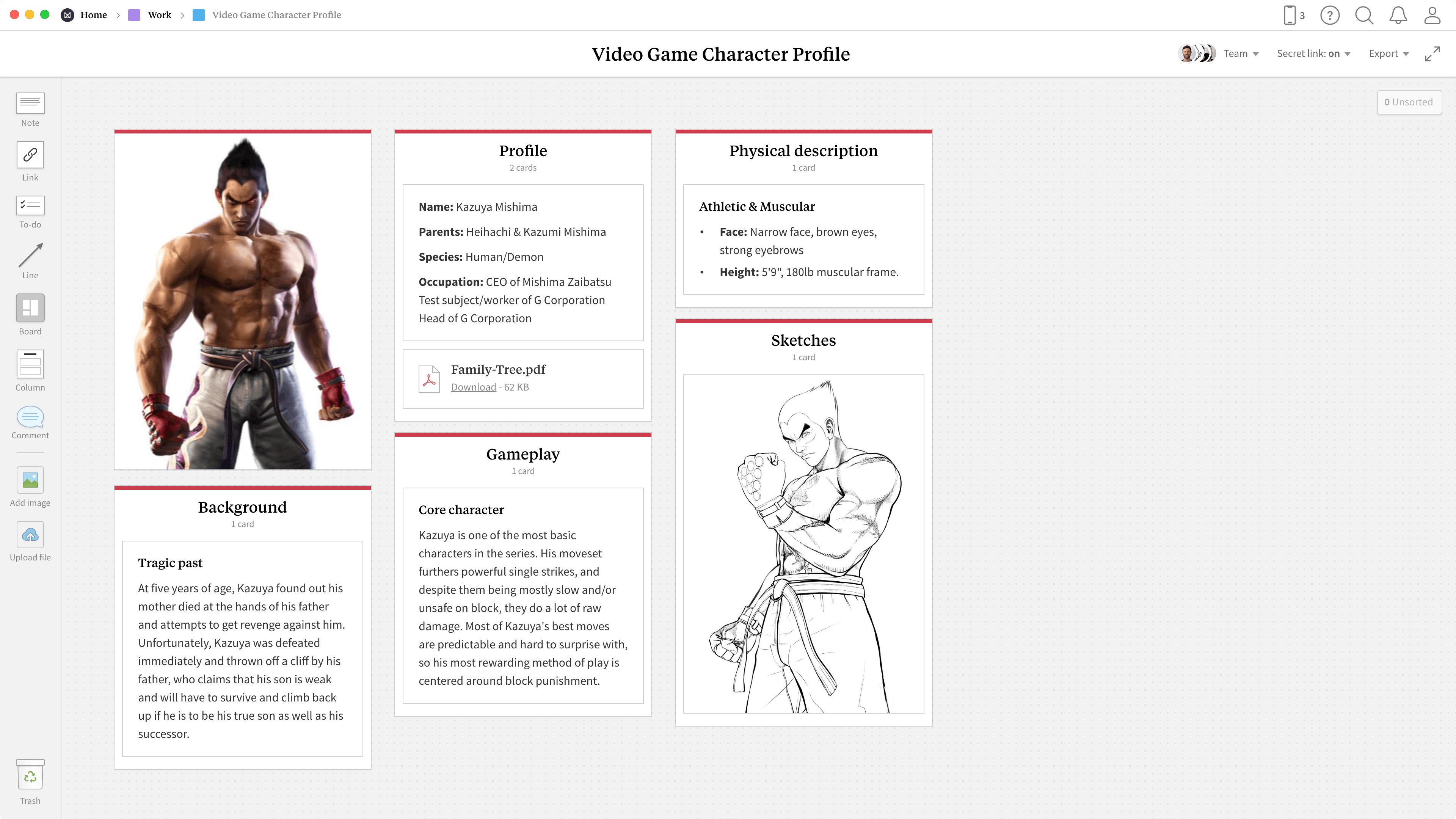 Completed Game Character Profile template in Milanote app