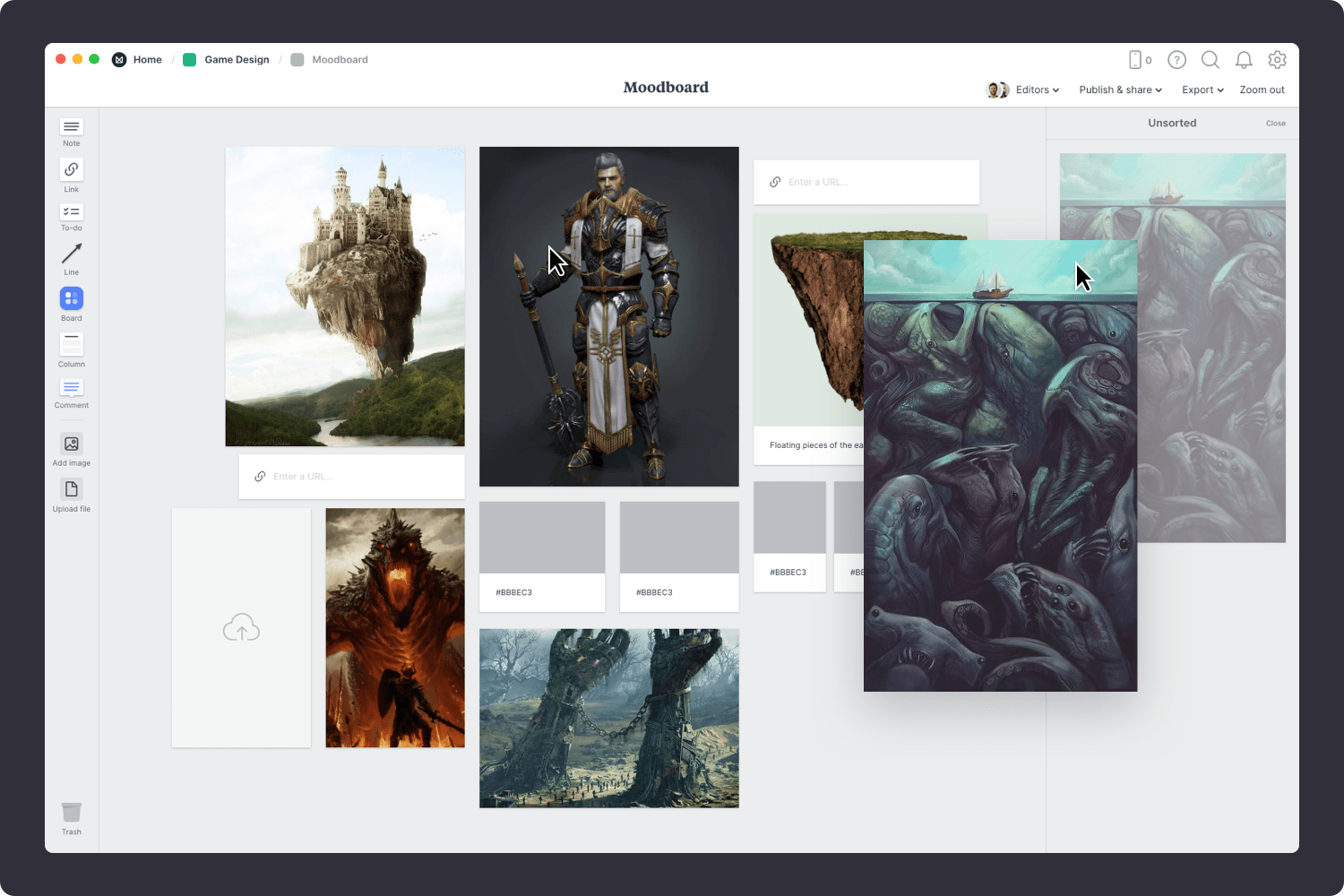 Adding images to a game design moodboard template