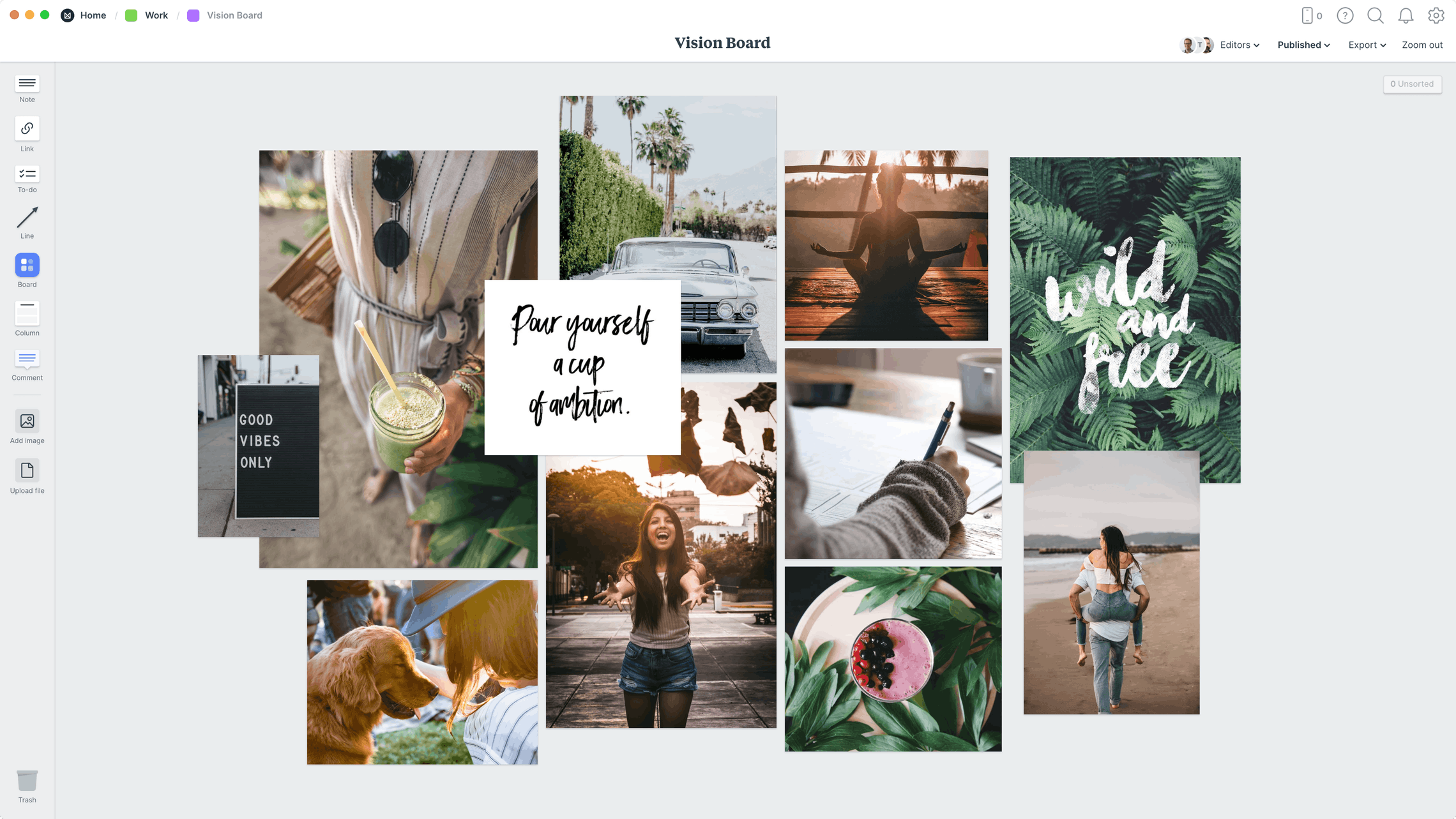 Vision Board Template, within the Milanote app