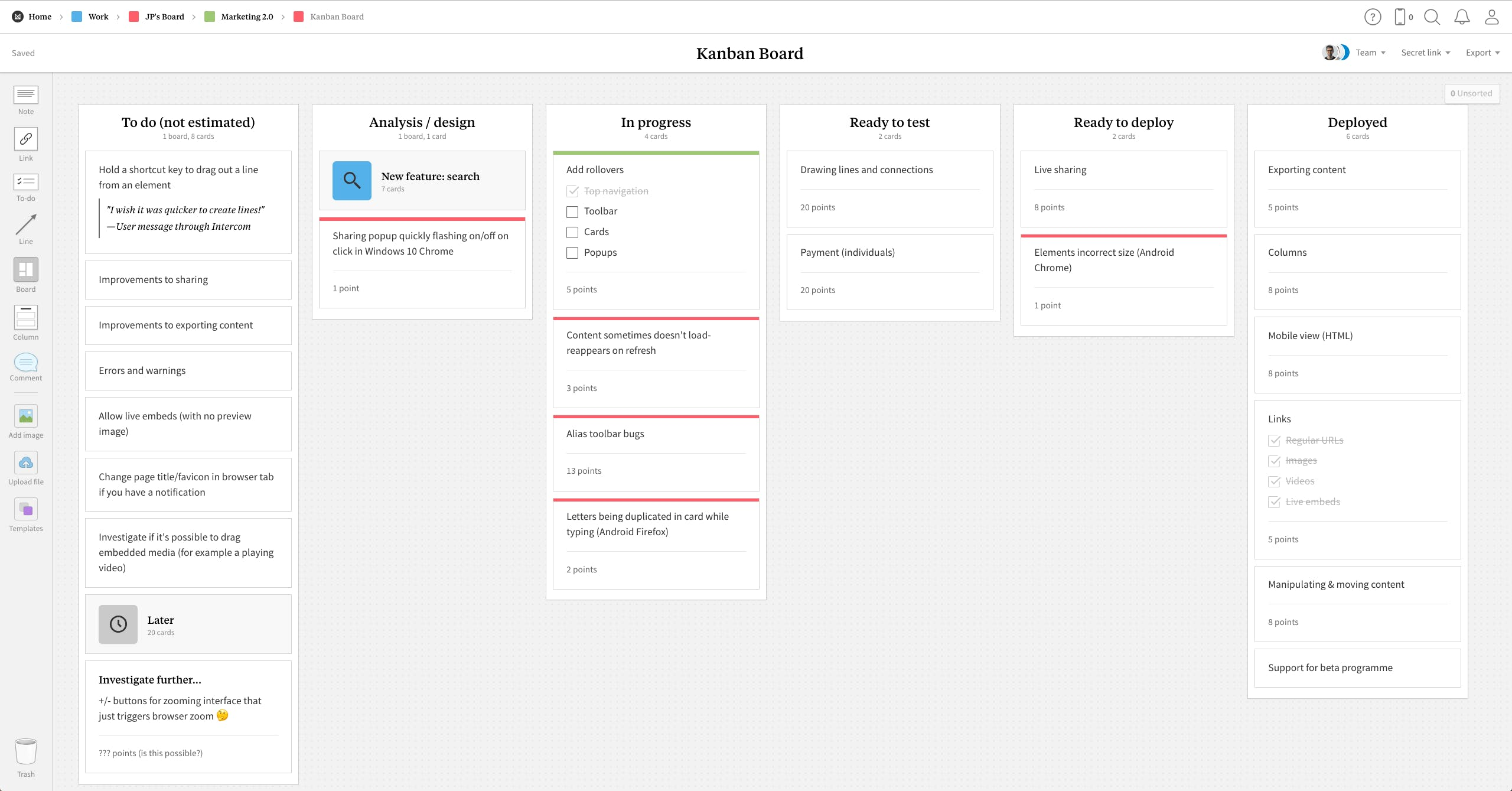 Completed Kanban Board template in Milanote app