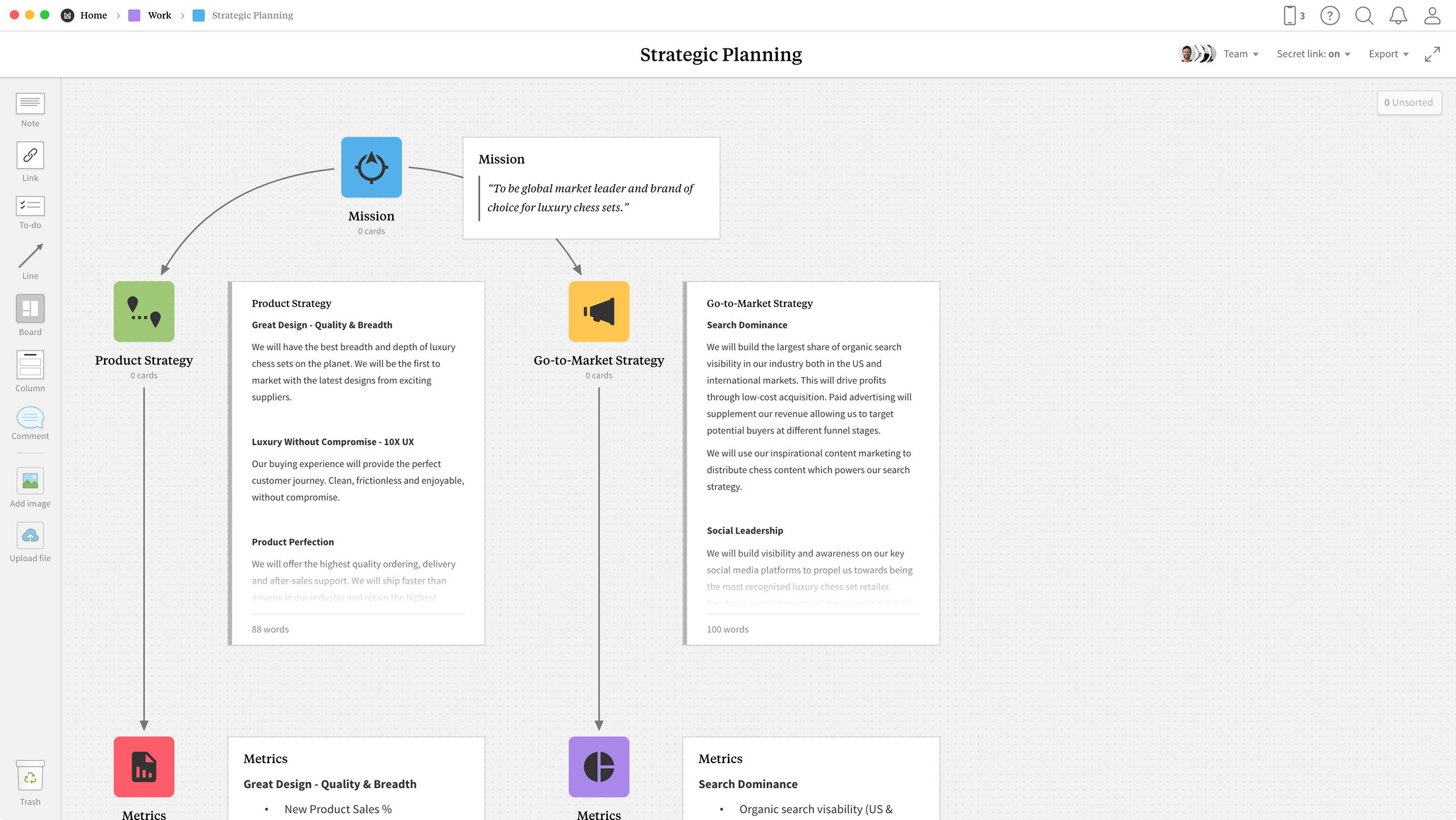 Strategic Planning Template, within the Milanote app