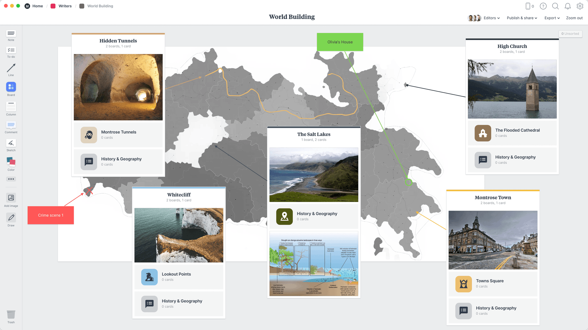 World Building Template, within the Milanote app