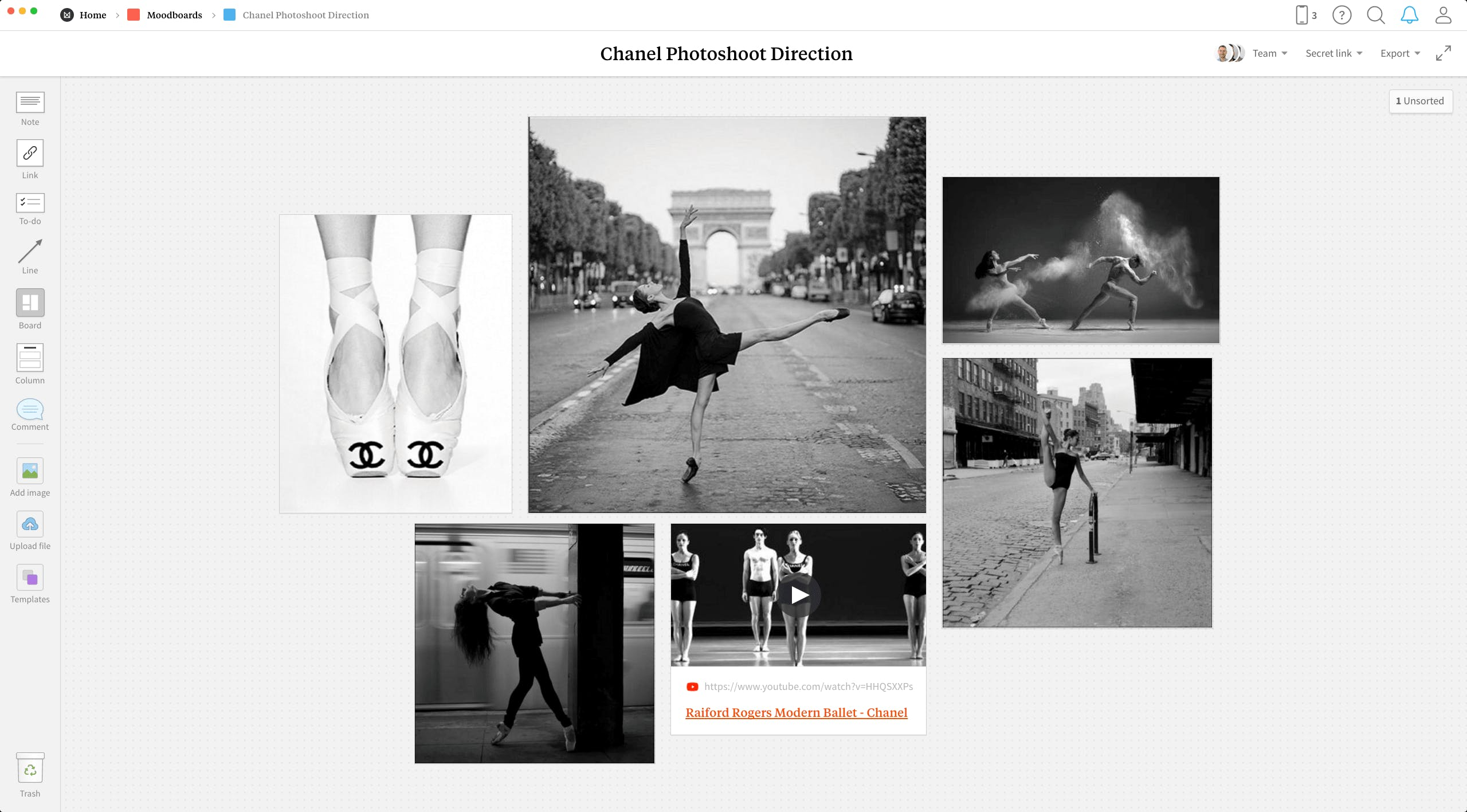 Completed Photography Moodboard template in Milanote app