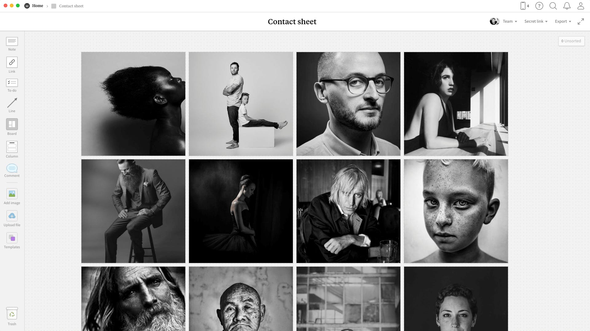 Completed Photography Contact Sheet template in Milanote app