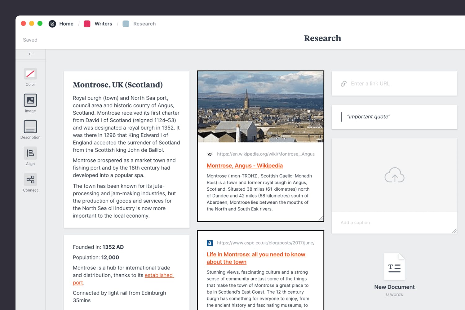 Research template for a novel