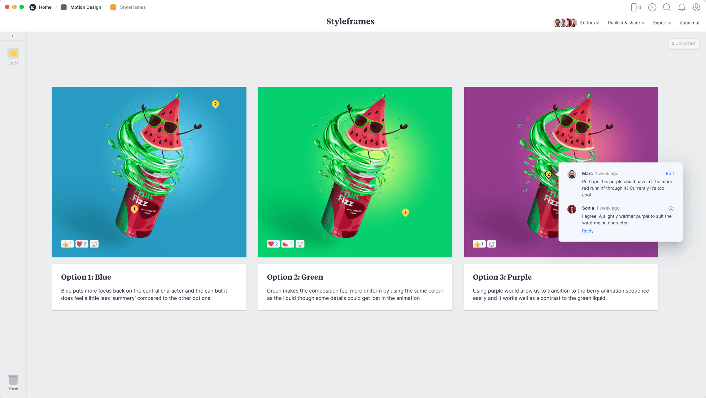 Motion Design Style Frames Template, within the Milanote app