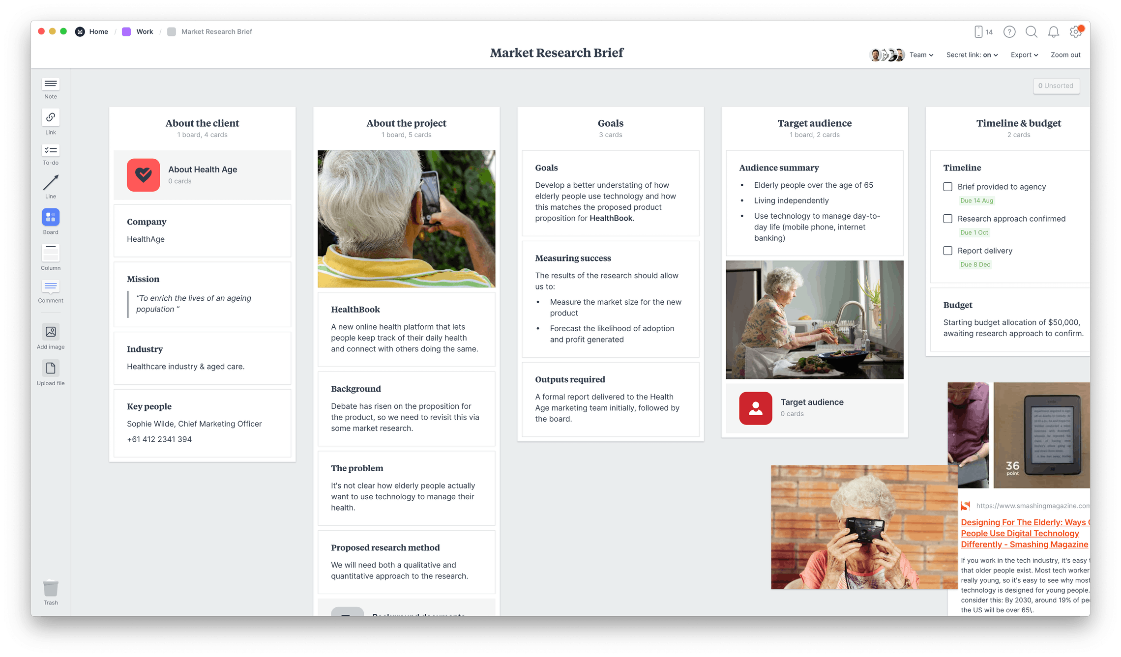 Market Research Brief Template, within the Milanote app