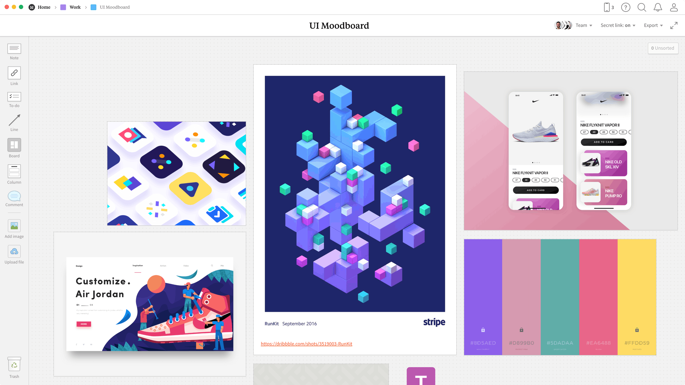 UI Moodboard Template, within the Milanote app