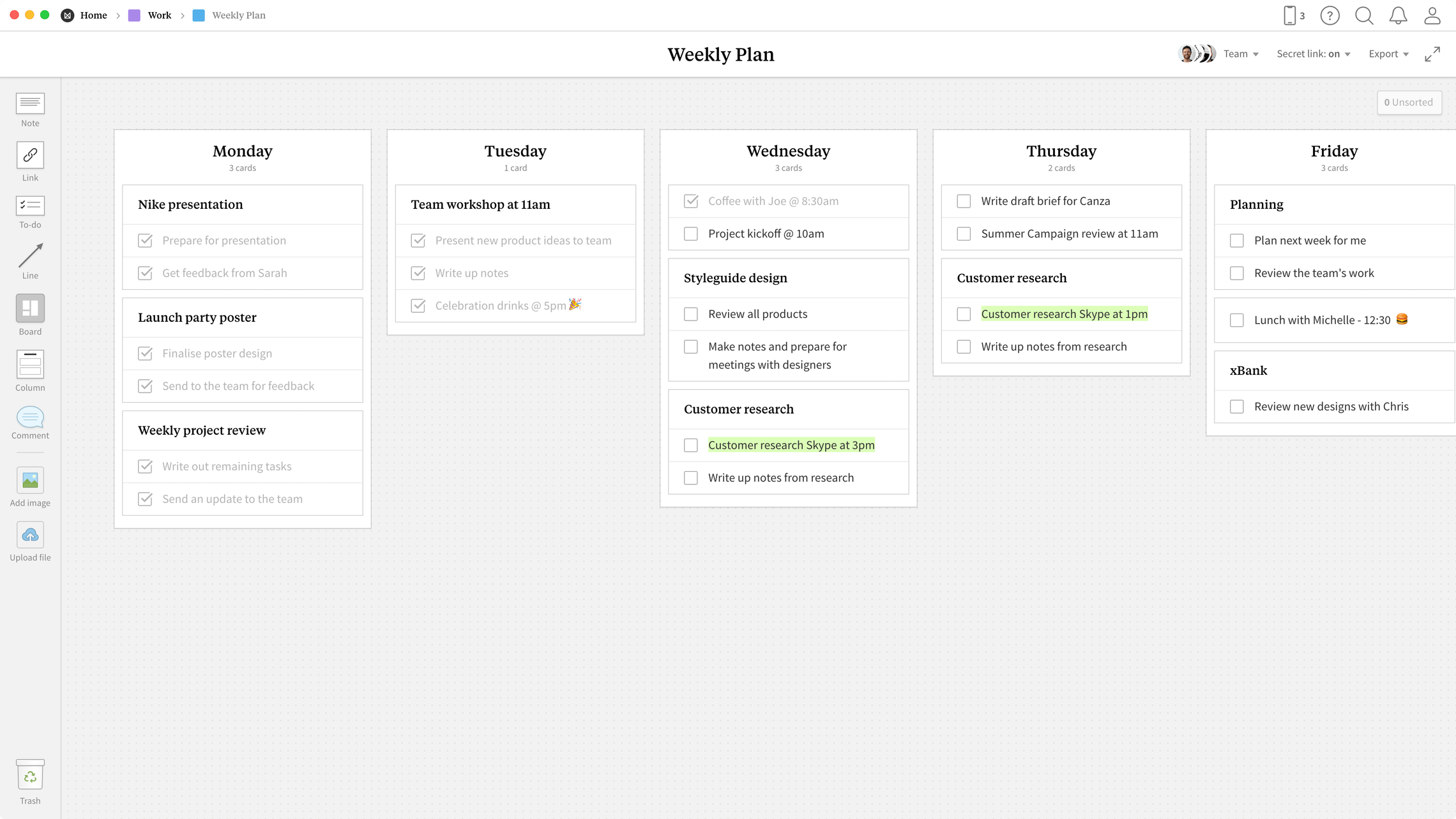 Weekly Plan Template, within the Milanote app