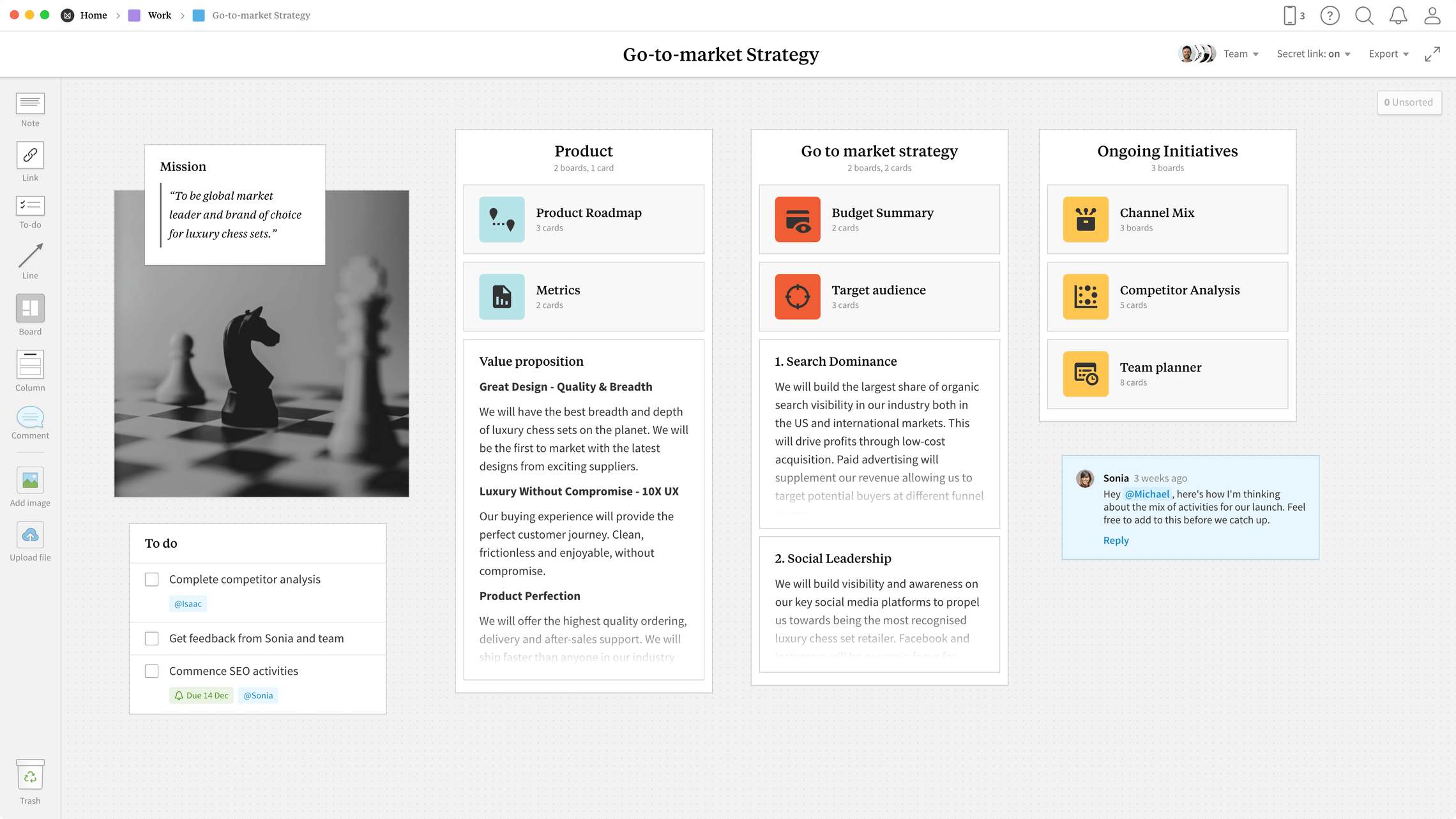 Go-to-market Strategy Template, within the Milanote app