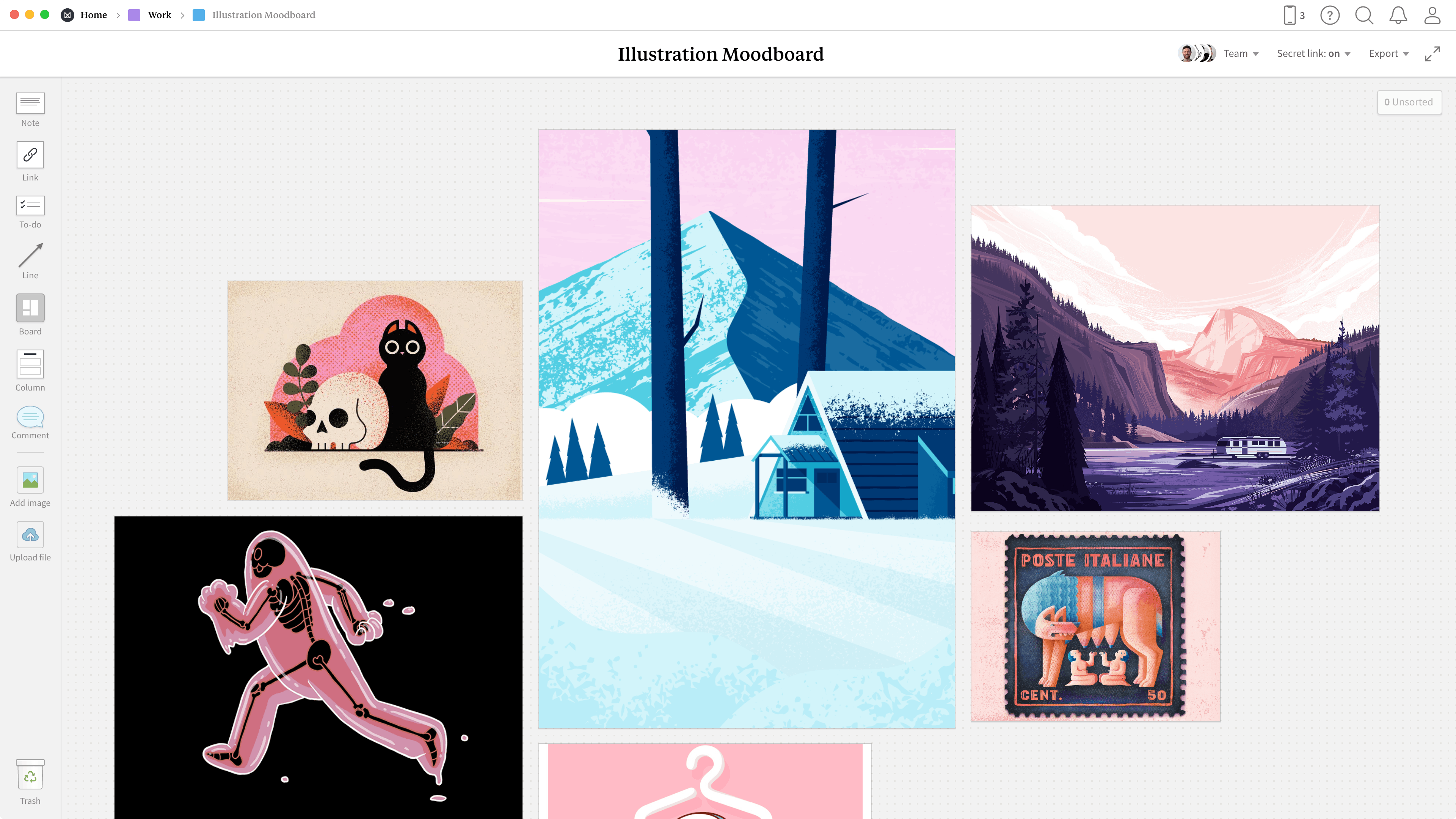 Completed Illustrative Moodboard template in Milanote app