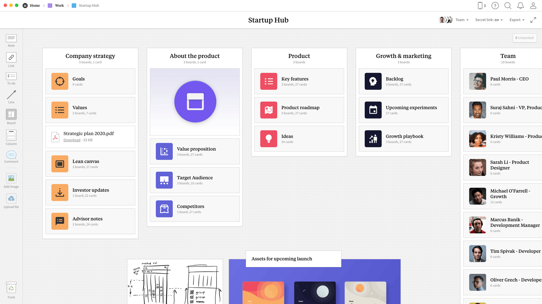 Startup Hub Template, within the Milanote app