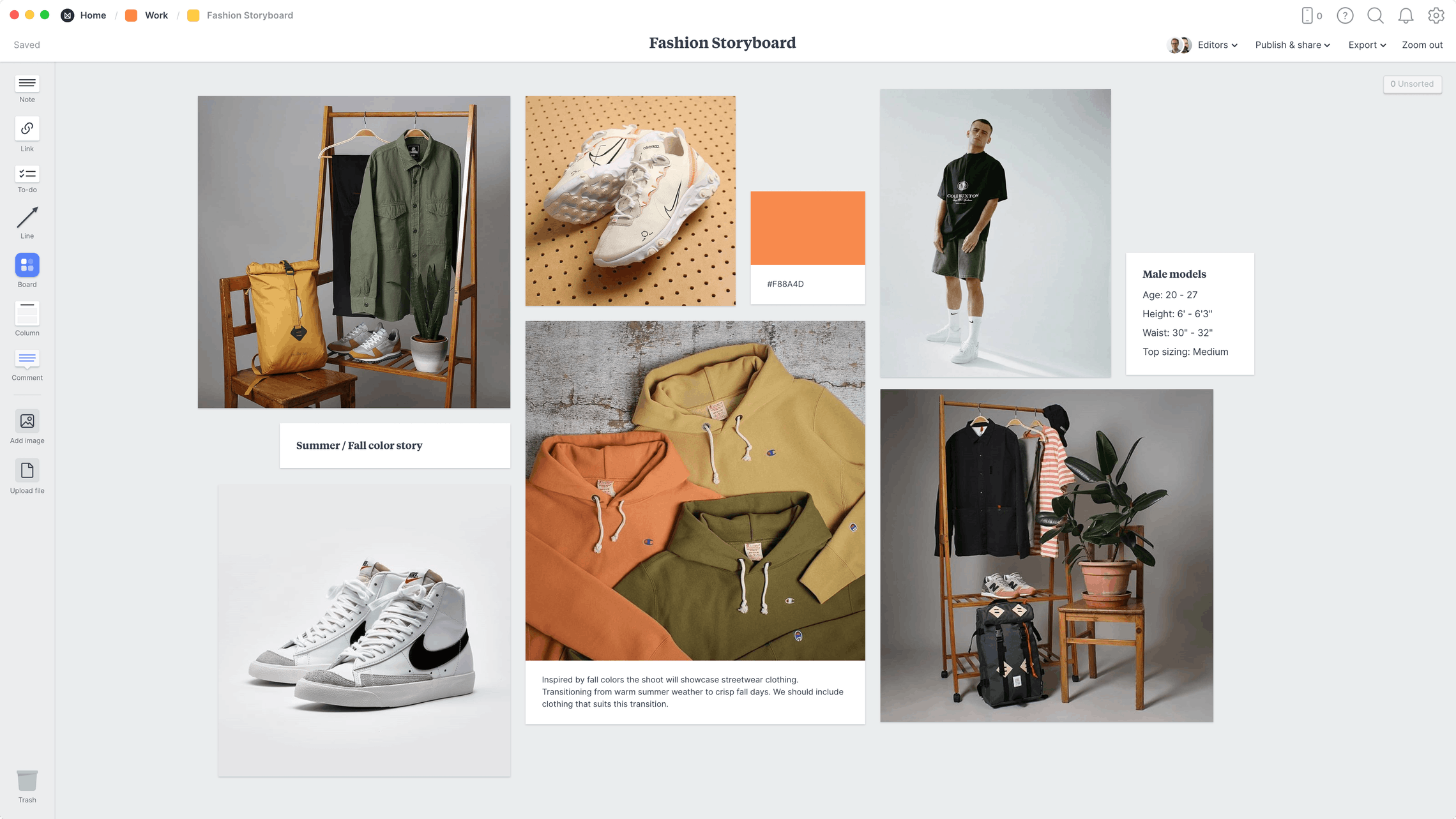 Fashion Storyboard Template, within the Milanote app