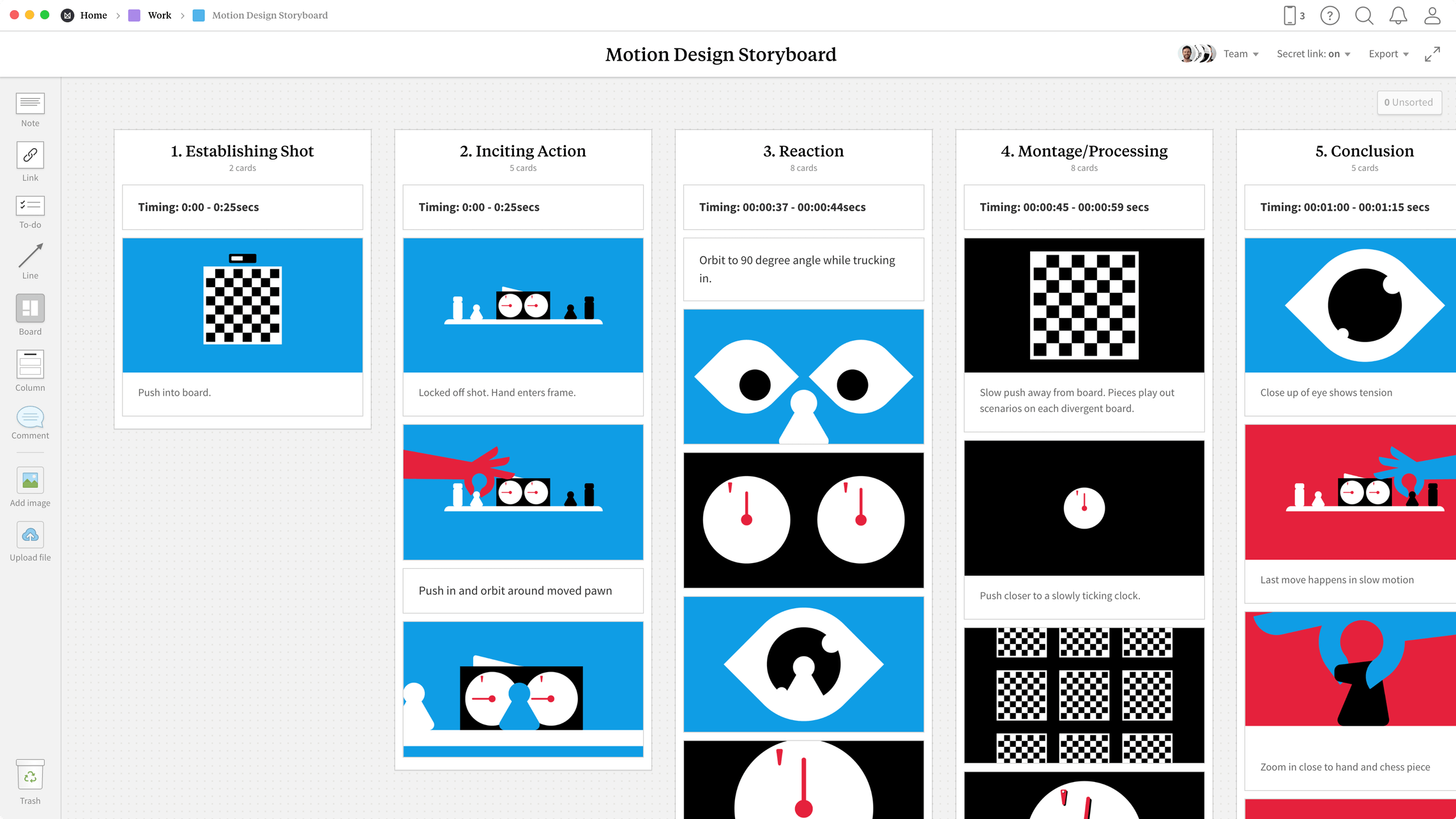 Motion Design Storyboard Template, within the Milanote app
