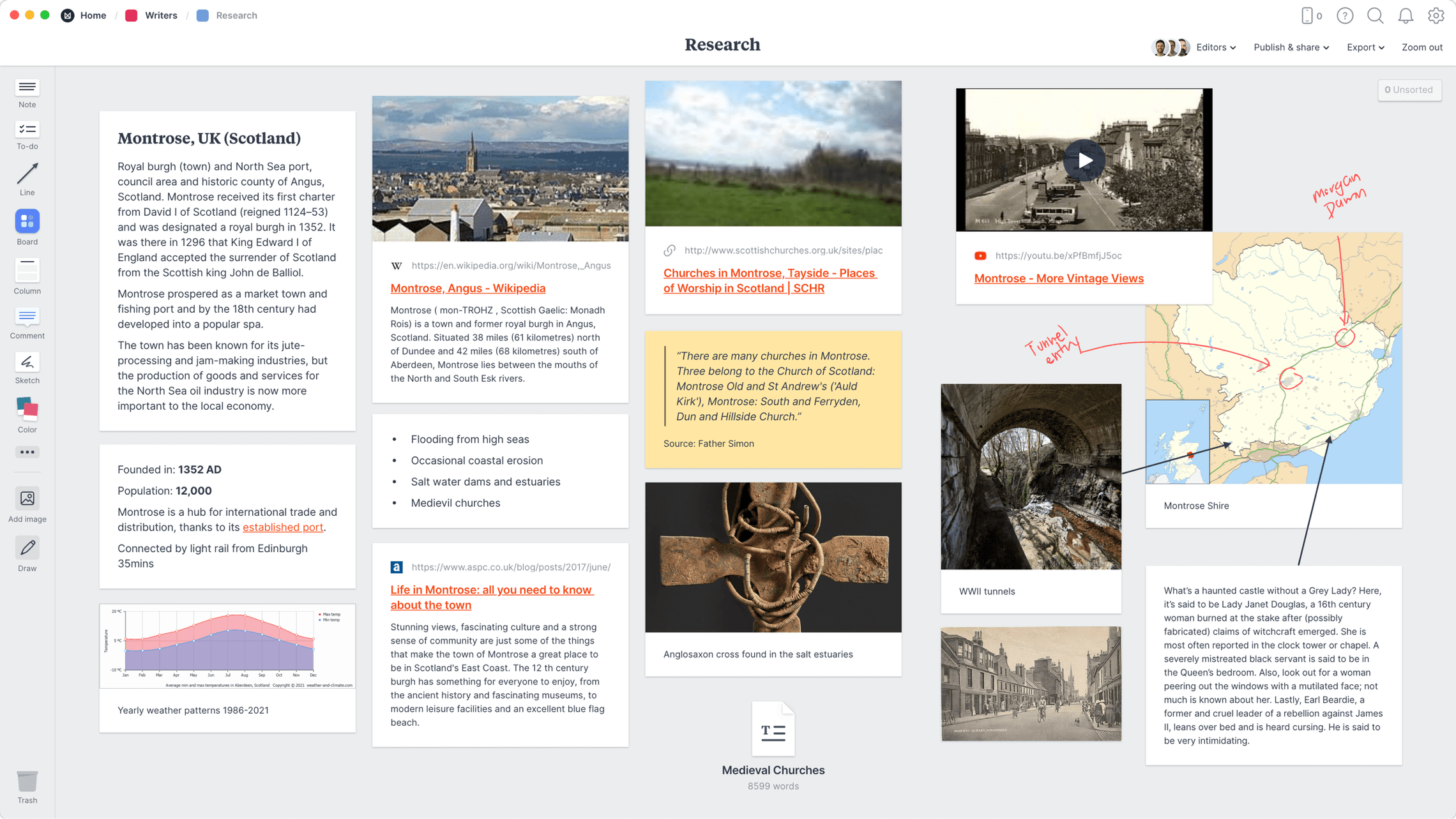Research Template, within the Milanote app