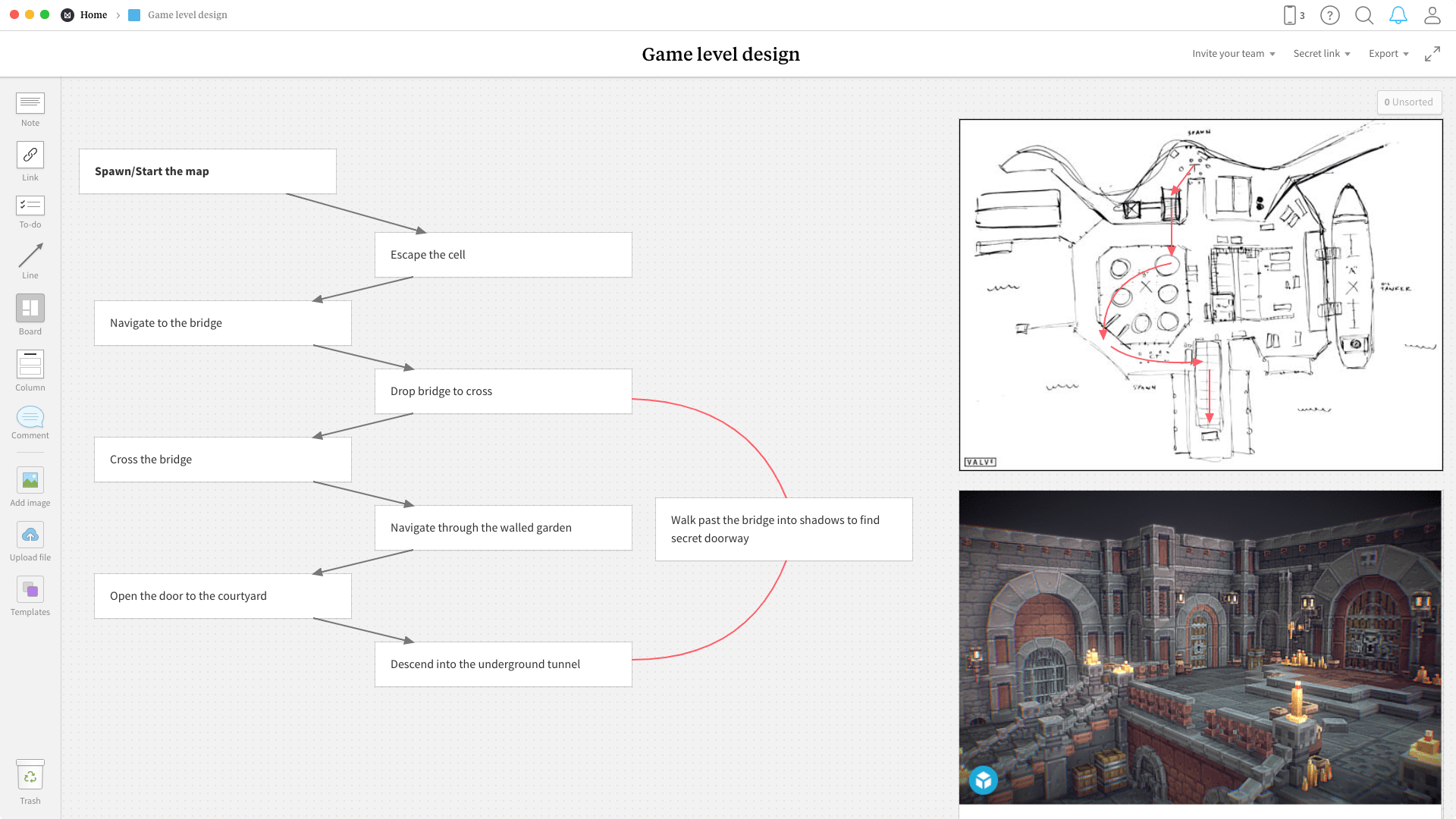 Completed Game Level Design template in Milanote app