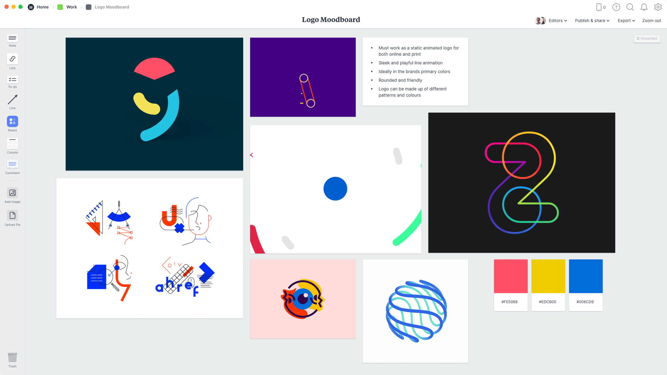 Logo Moodboard Template, within the Milanote app