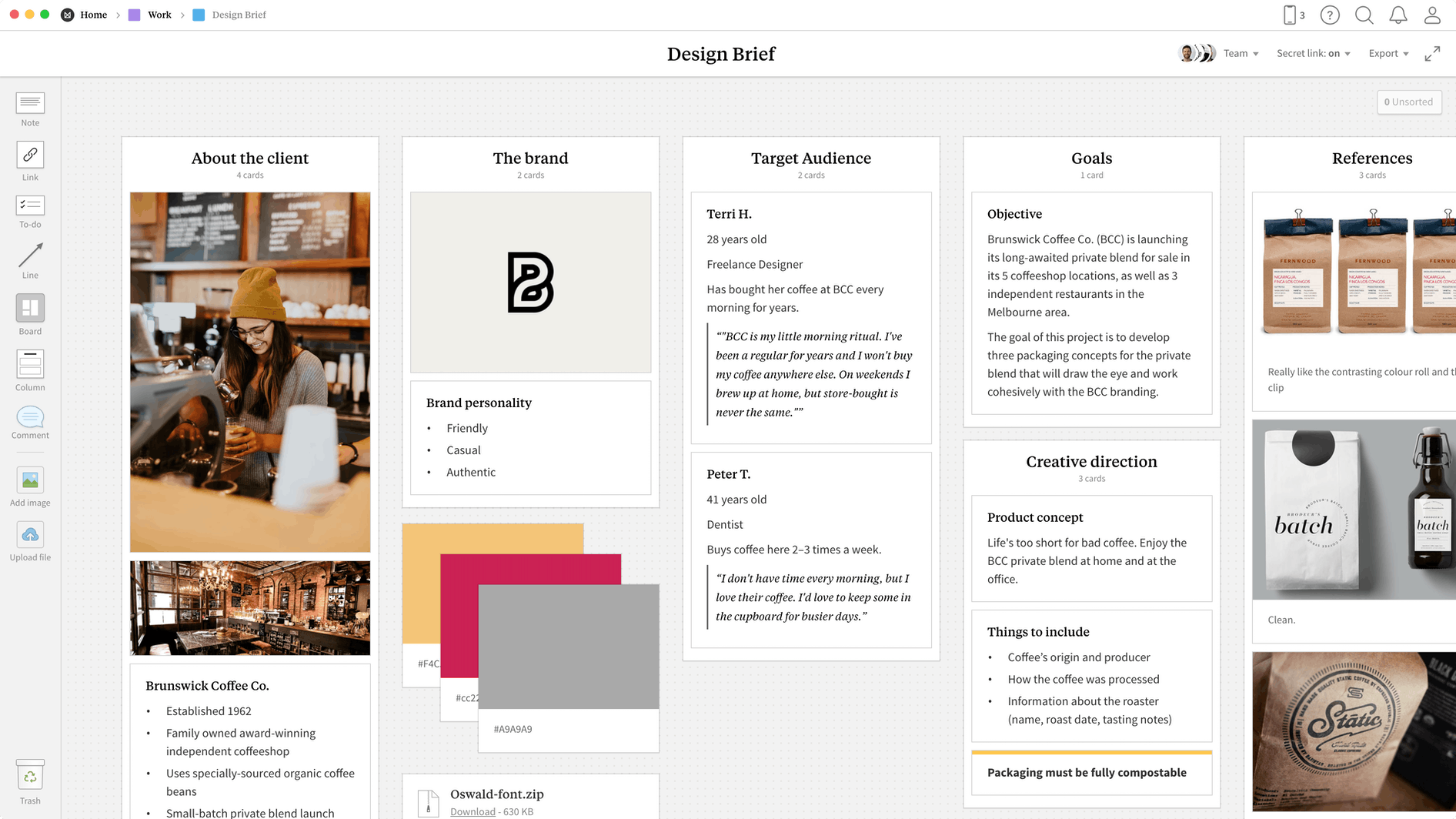 Design Brief Template, within the Milanote app