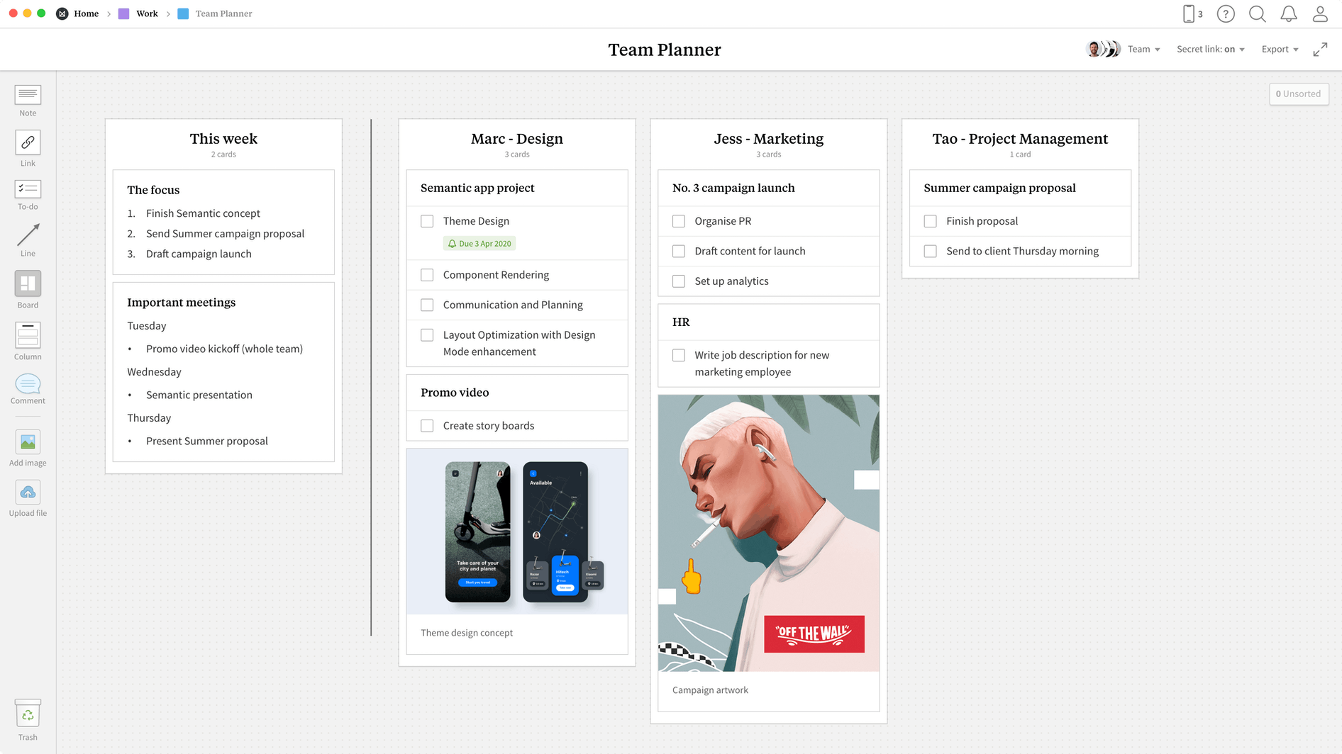 Team Planner Template, within the Milanote app