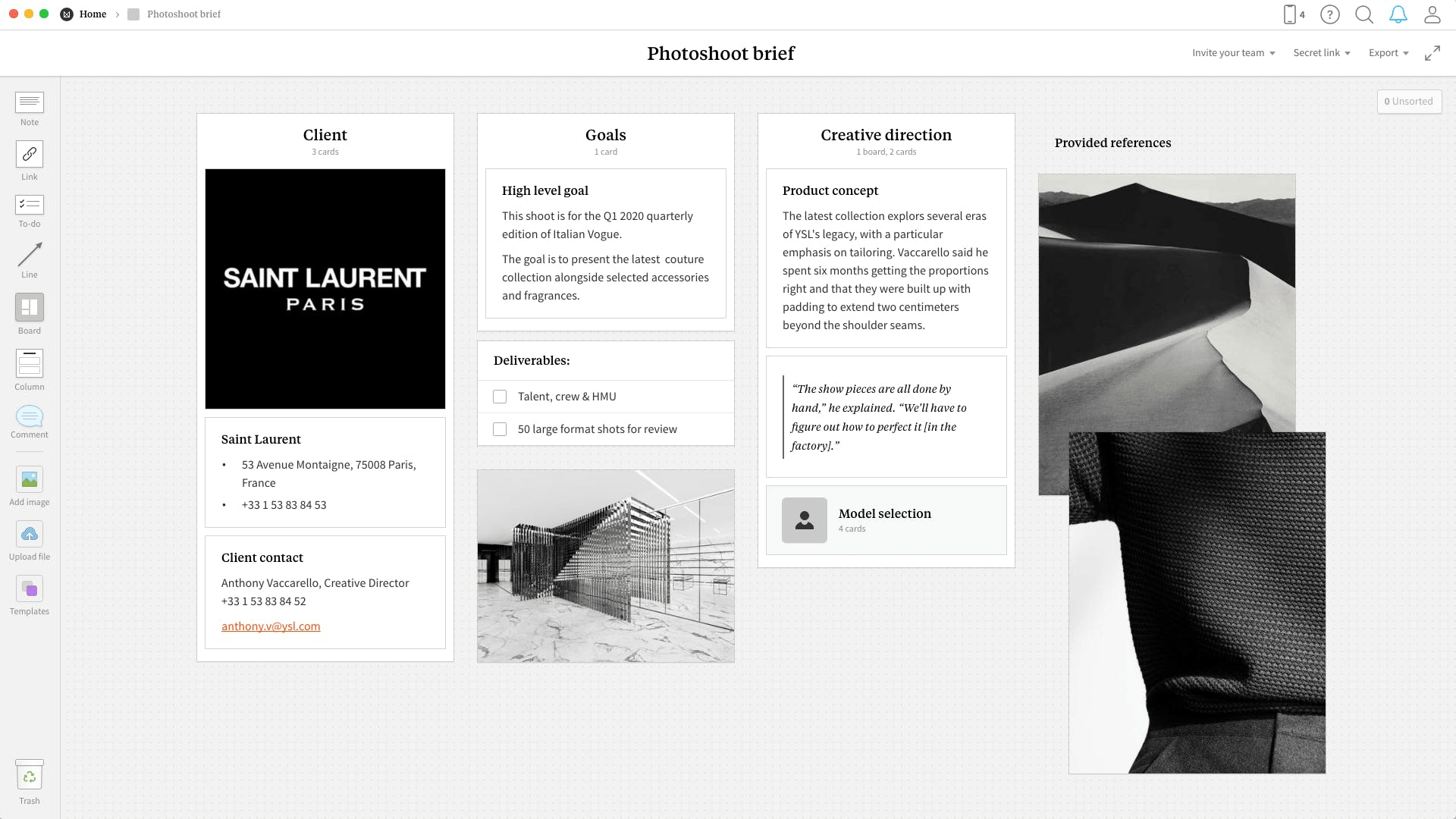 Completed Photoshoot Brief template in Milanote app
