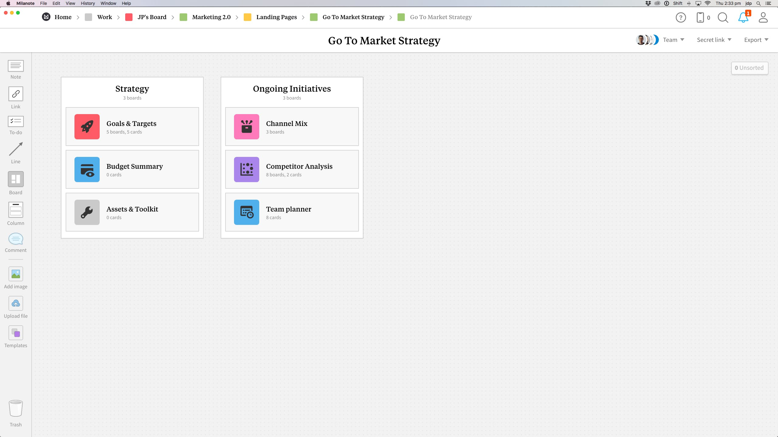 Completed Go-to-market Strategy template in Milanote app