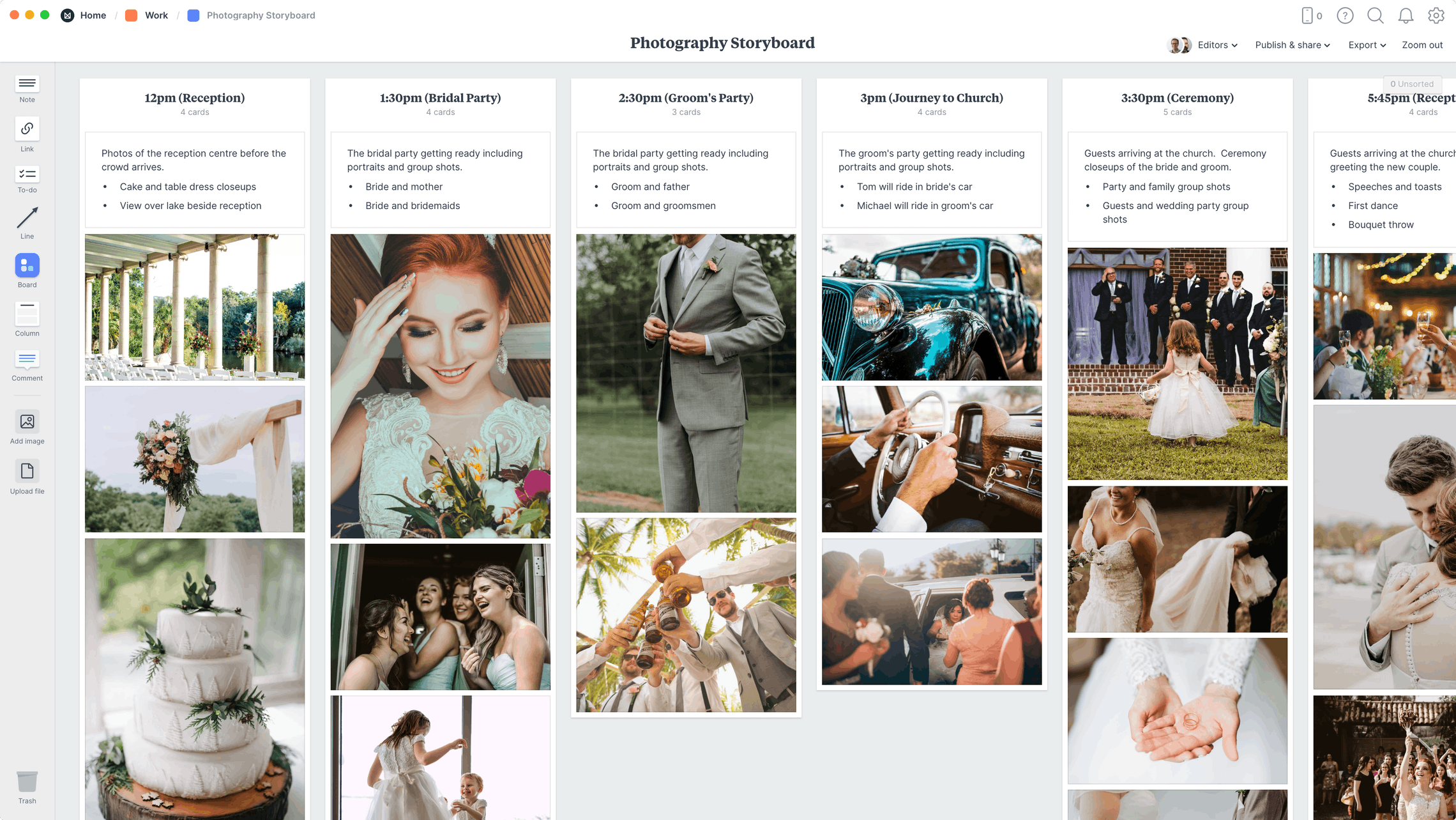 Photography Storyboard Template, within the Milanote app