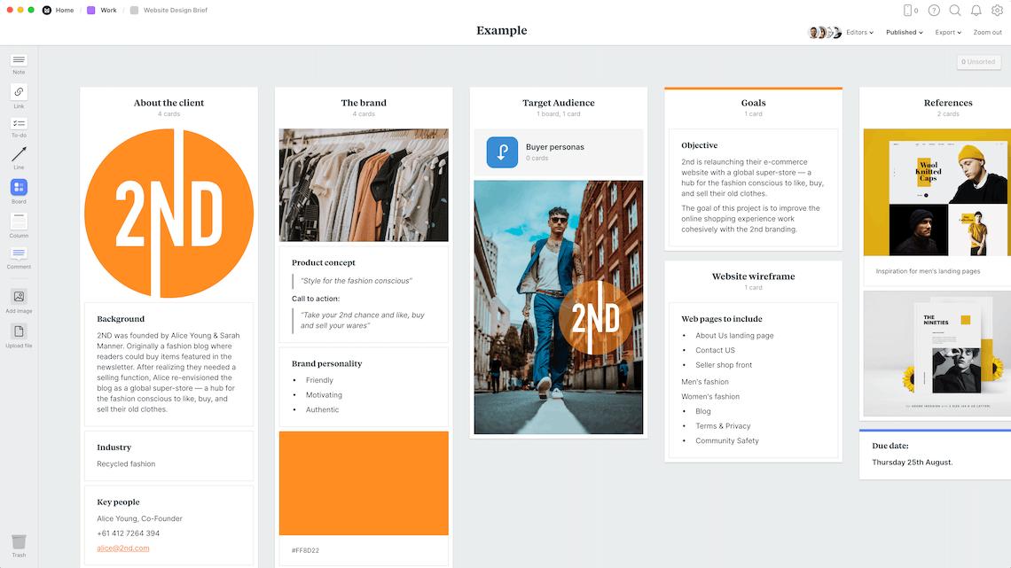 Website Design Brief Template Example Milanote