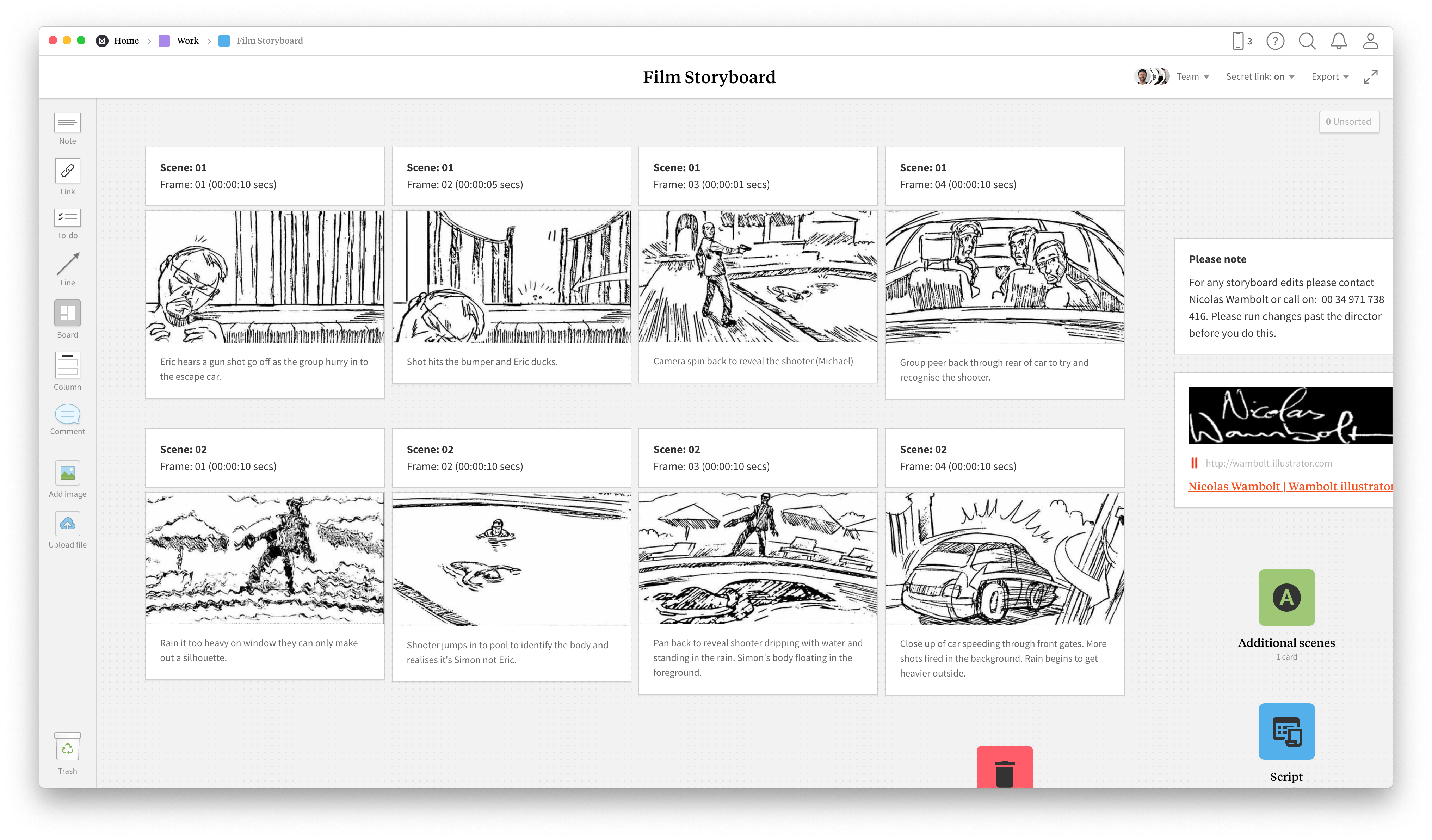 Completed Filmmaking Storyboard template in Milanote app