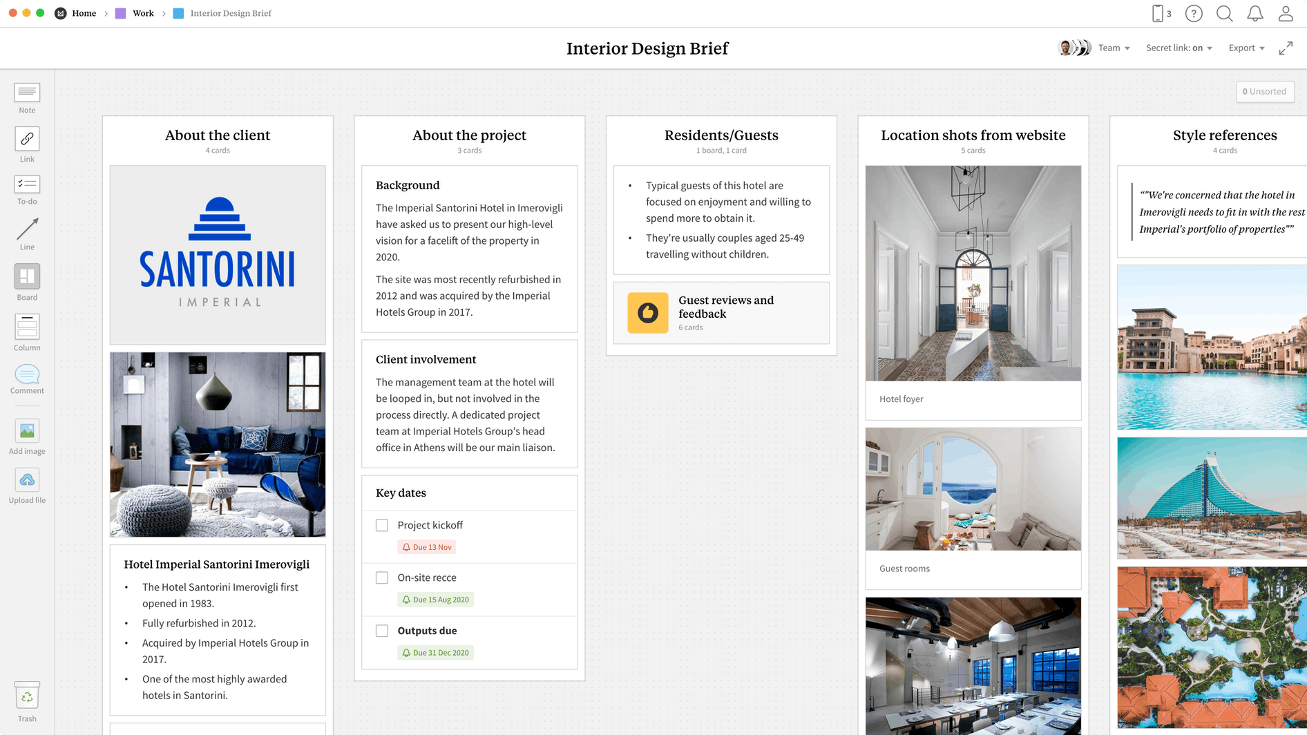 Interior Design Brief Template, within the Milanote app