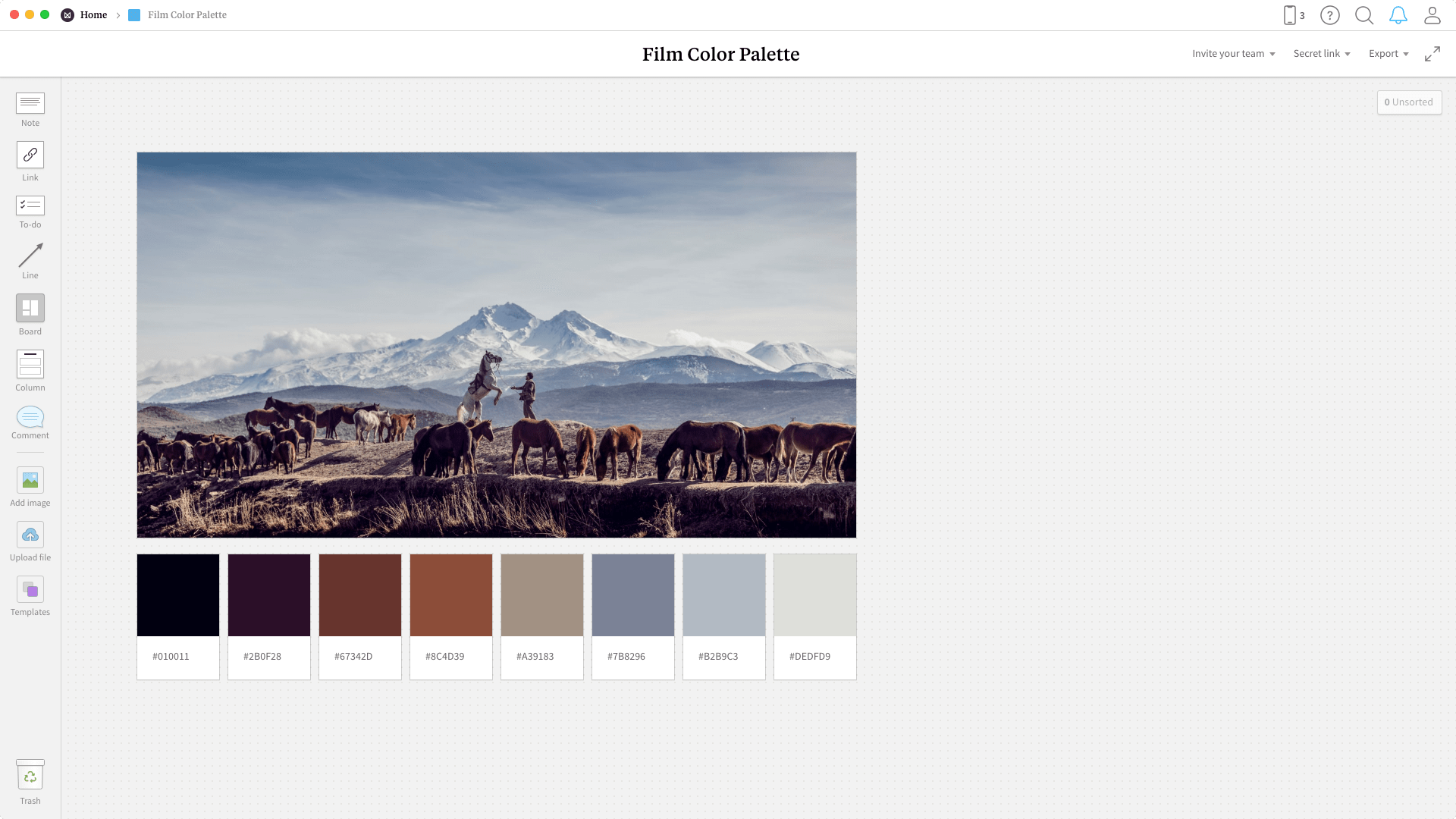 Completed Film Palette template in Milanote app